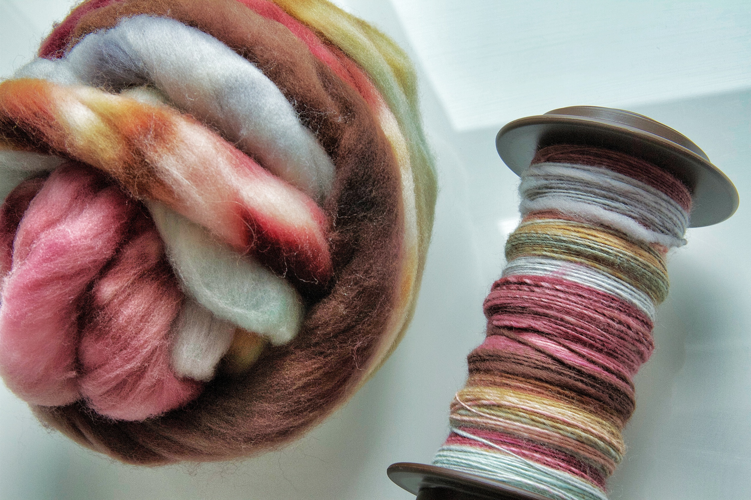 Hello Yarn  spinning fiber in Pate de Fruit colourway (November 2011 in the Hello Yarn Fiber Club). Rambouillet wool top. 4oz.