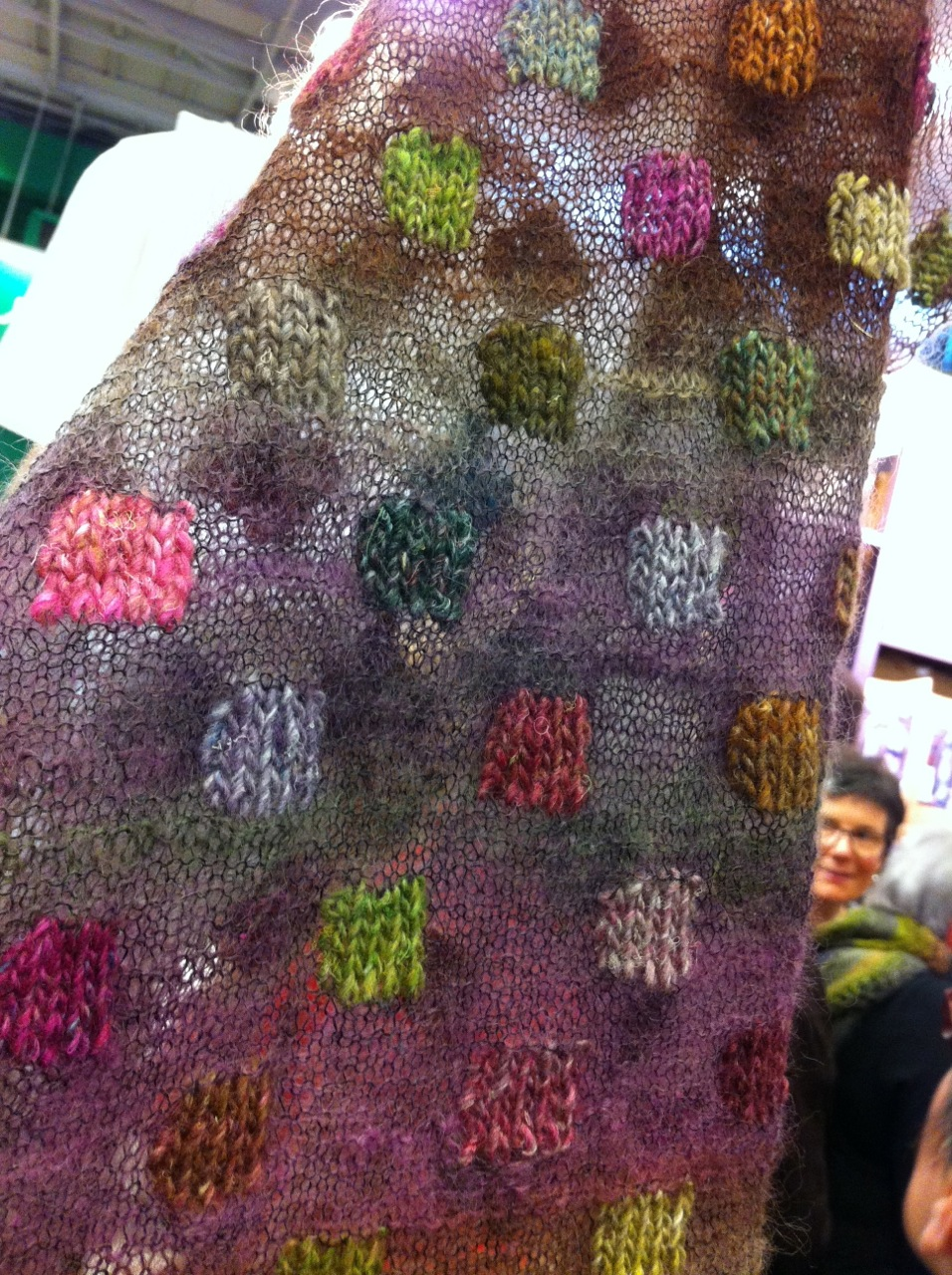 As did this scarf that we marvelled over the construction trying to figure out if it was intarsia or duplicate stitch.