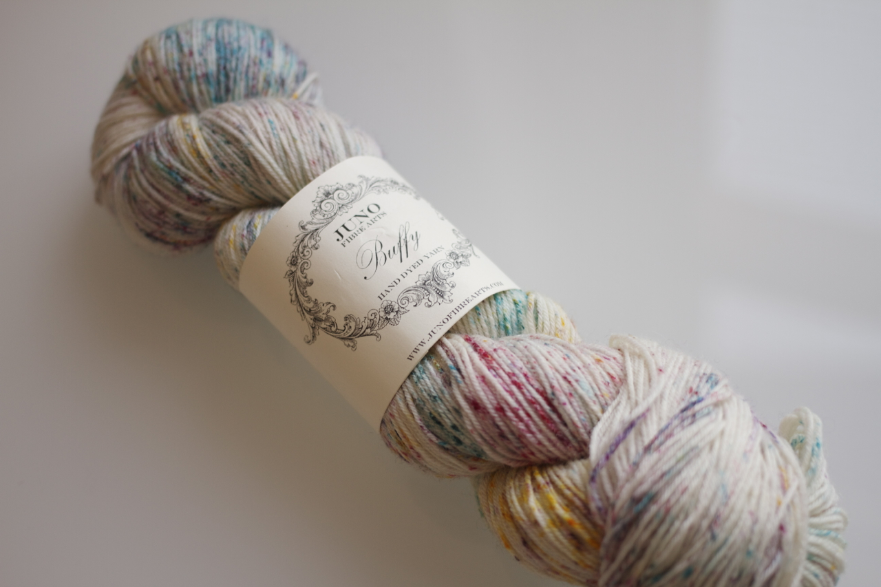 Juno Fibre Arts  Buffy 100% Blue Faced Leicester in Rainbow Speckles. Custom dyed for the shop.