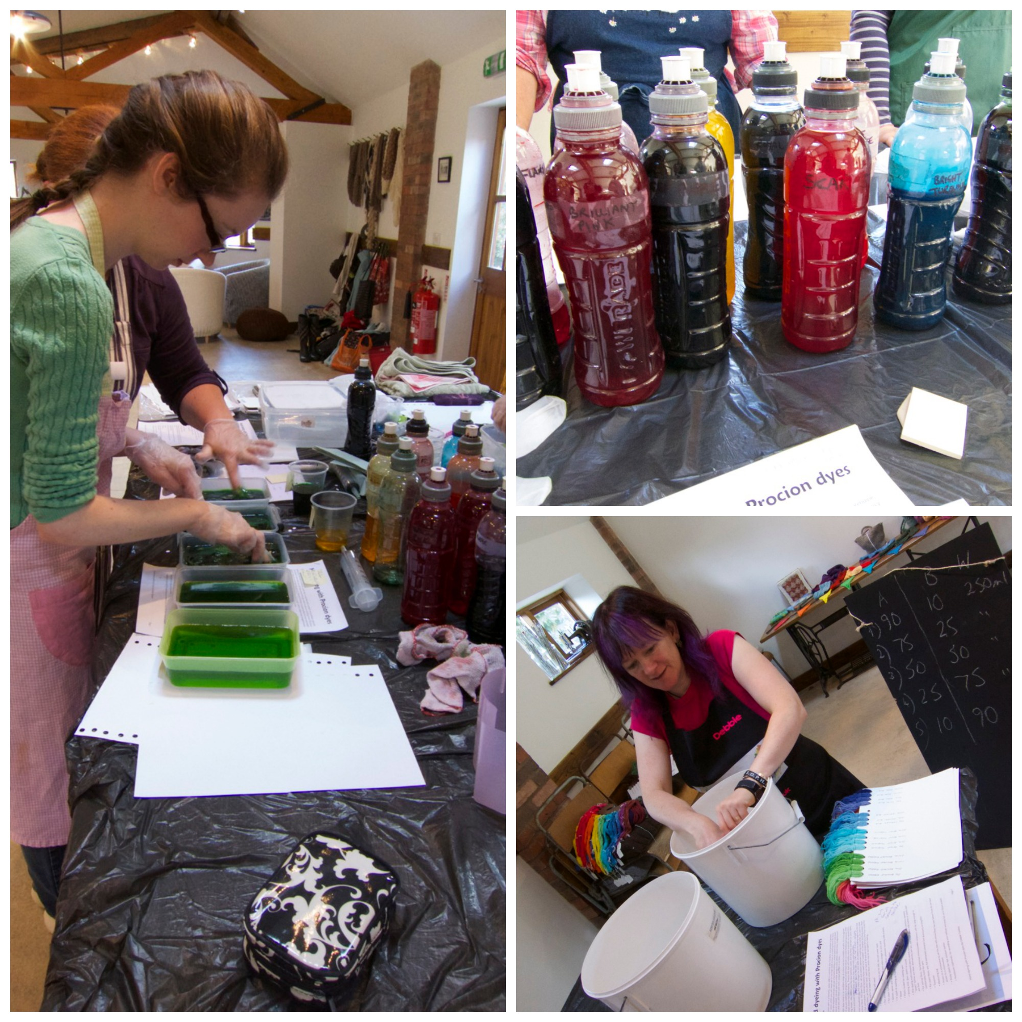 Lots of dyeing fun, the procion dyes, and Debbie at the helm
