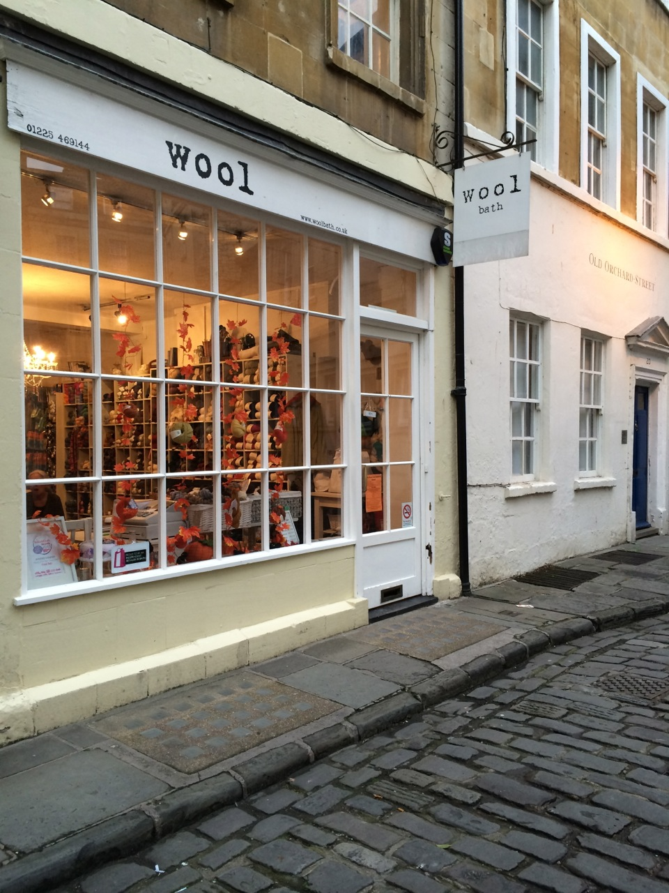 A sweet yarn shop tucked away on a cobblestone side street from Bath's centre square.