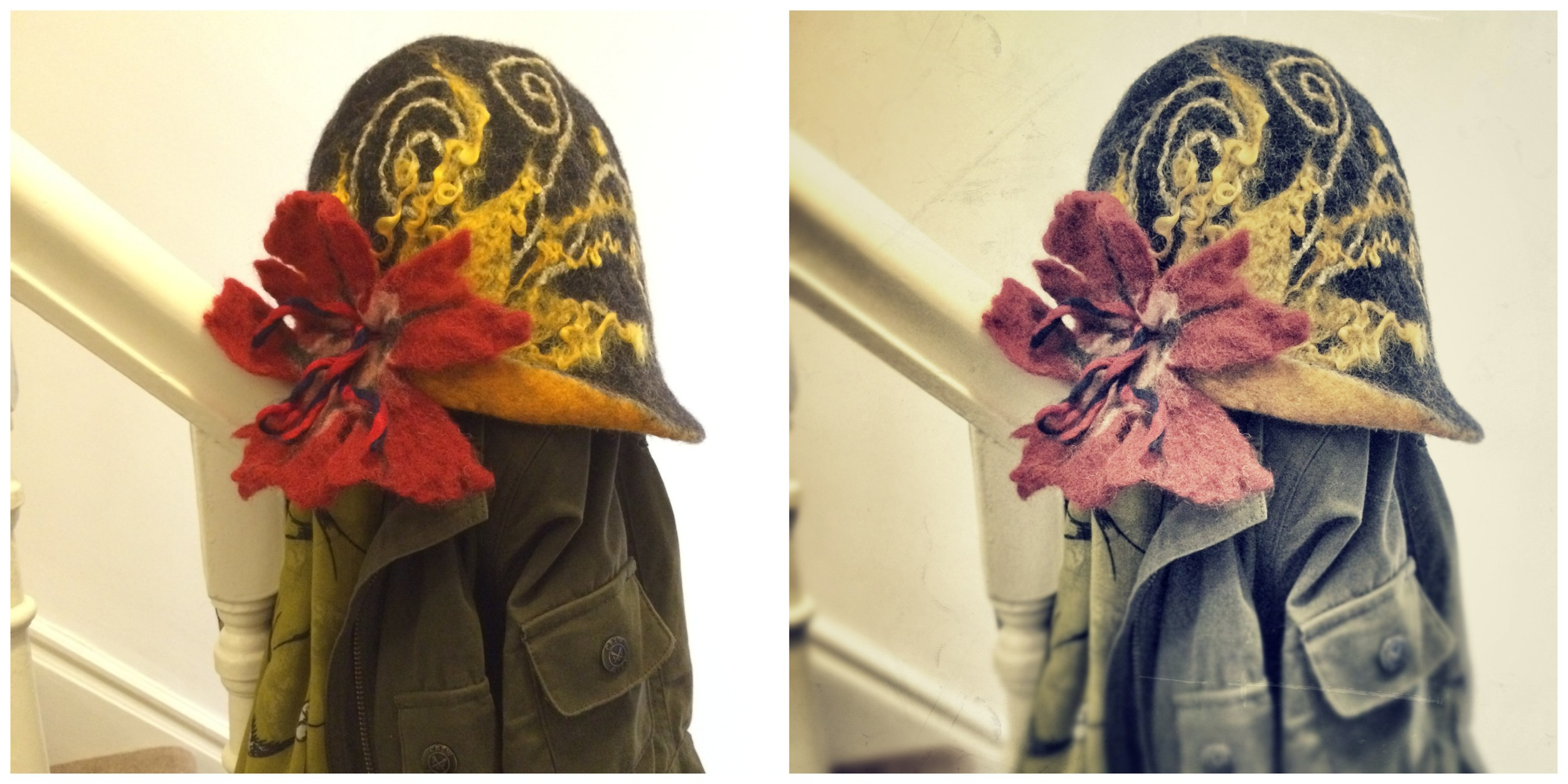 I've been playing in  PicMonkey  again too! The pic on the left is the original and shows the true colours of this amazing hat!