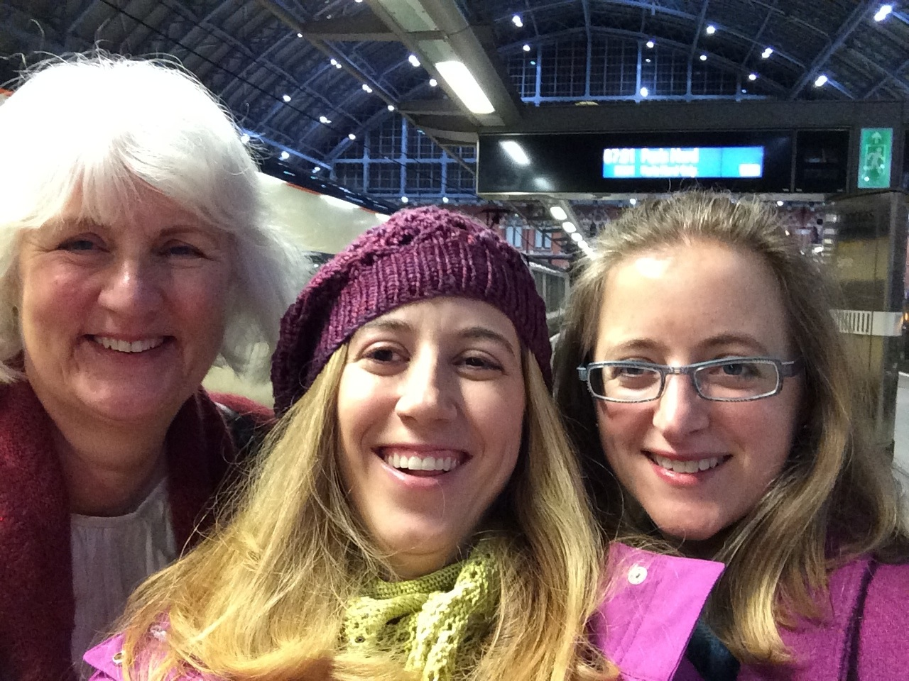 Catherine, Alli and Karen ready to catch that 7:01am train!