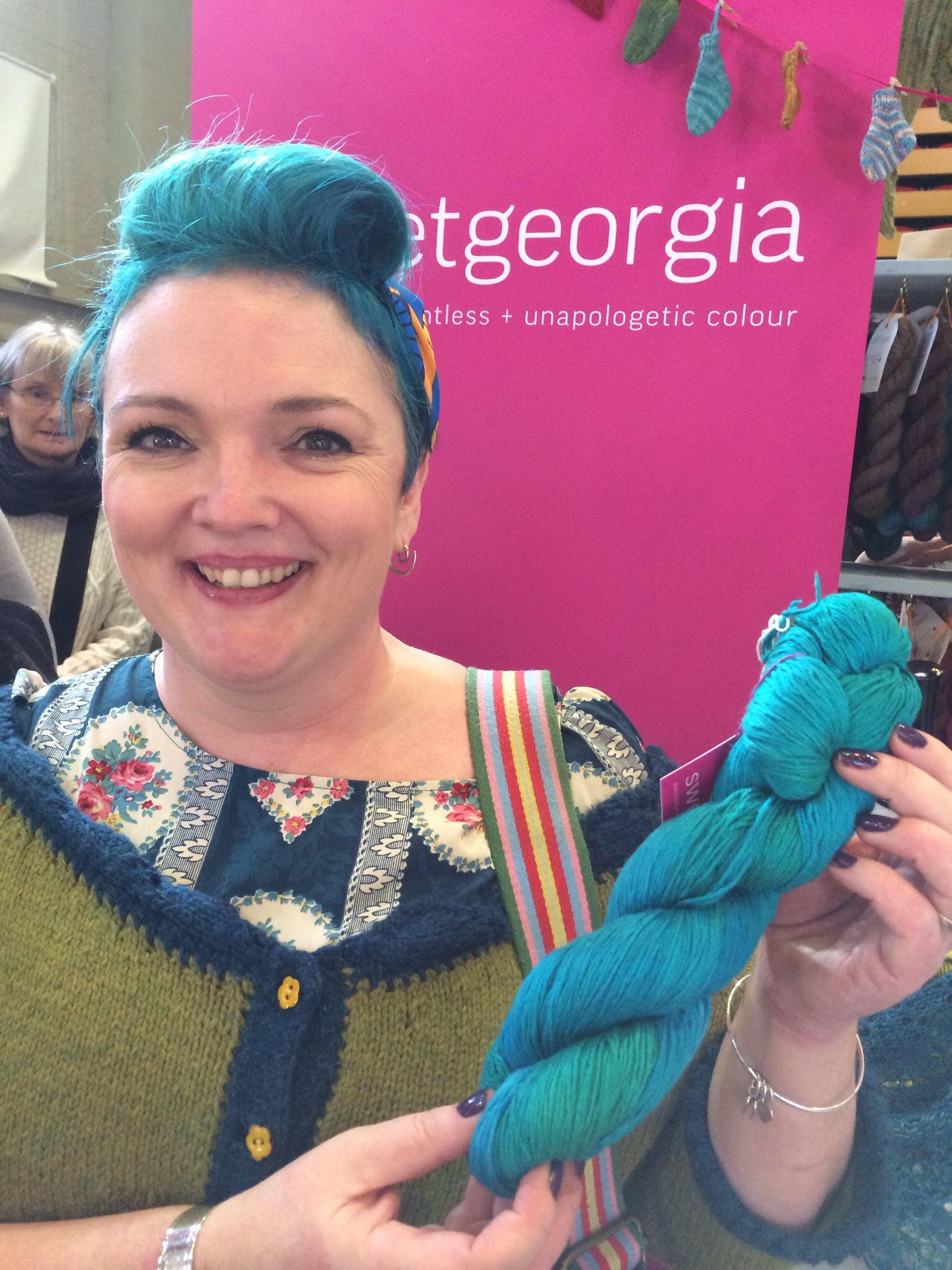 Gilly was excited to find some SweetGeorgia in her favourite shade of tourquoise...