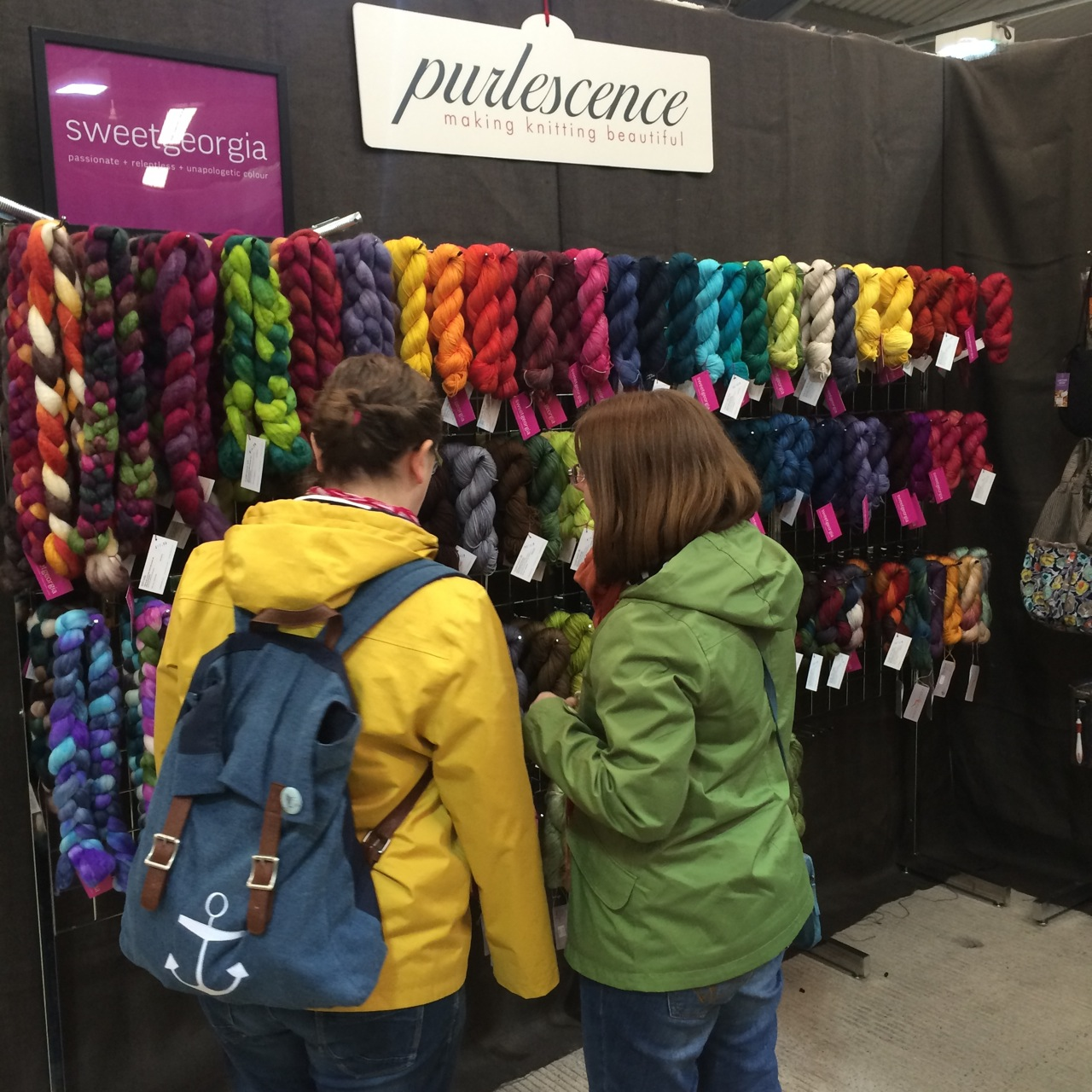 The rainbow of SweetGeorgia colour was proudly on display at the Purlescence booth.