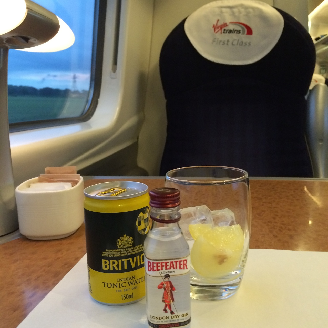 A ticket mixup meant I waspleasantly surprised to be in First Class on the train journey home. Might as well enjoy it!