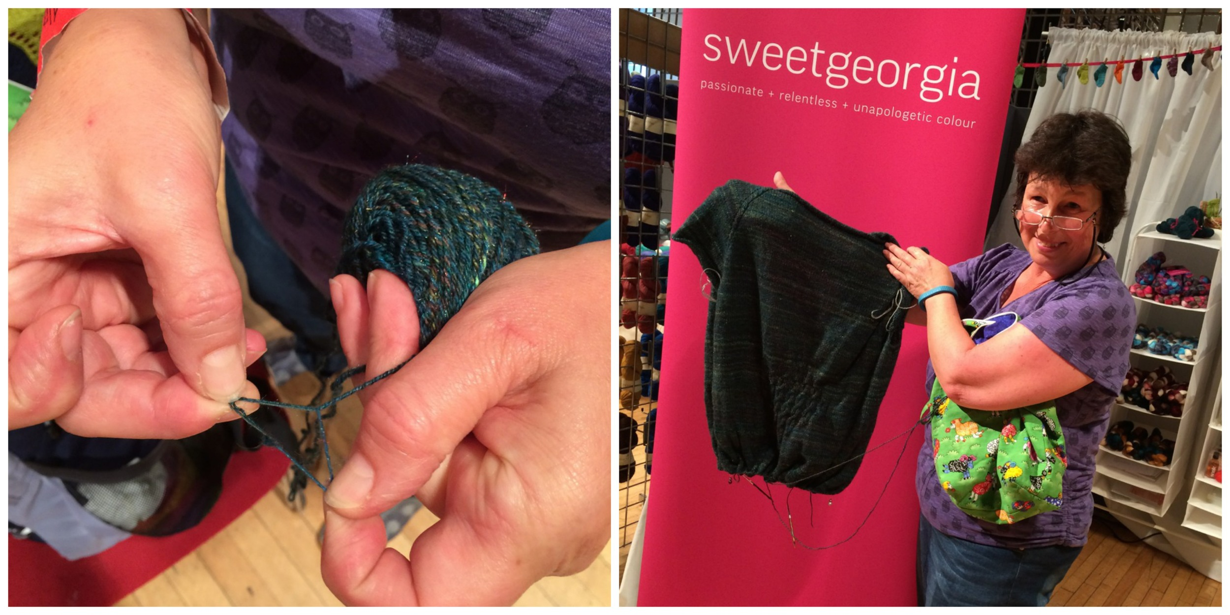This wonderful knitter had bought some SweetGeorgia fibre at Unravel, spun it and then plied it with another bit of handspun before knitting it up in her own design.