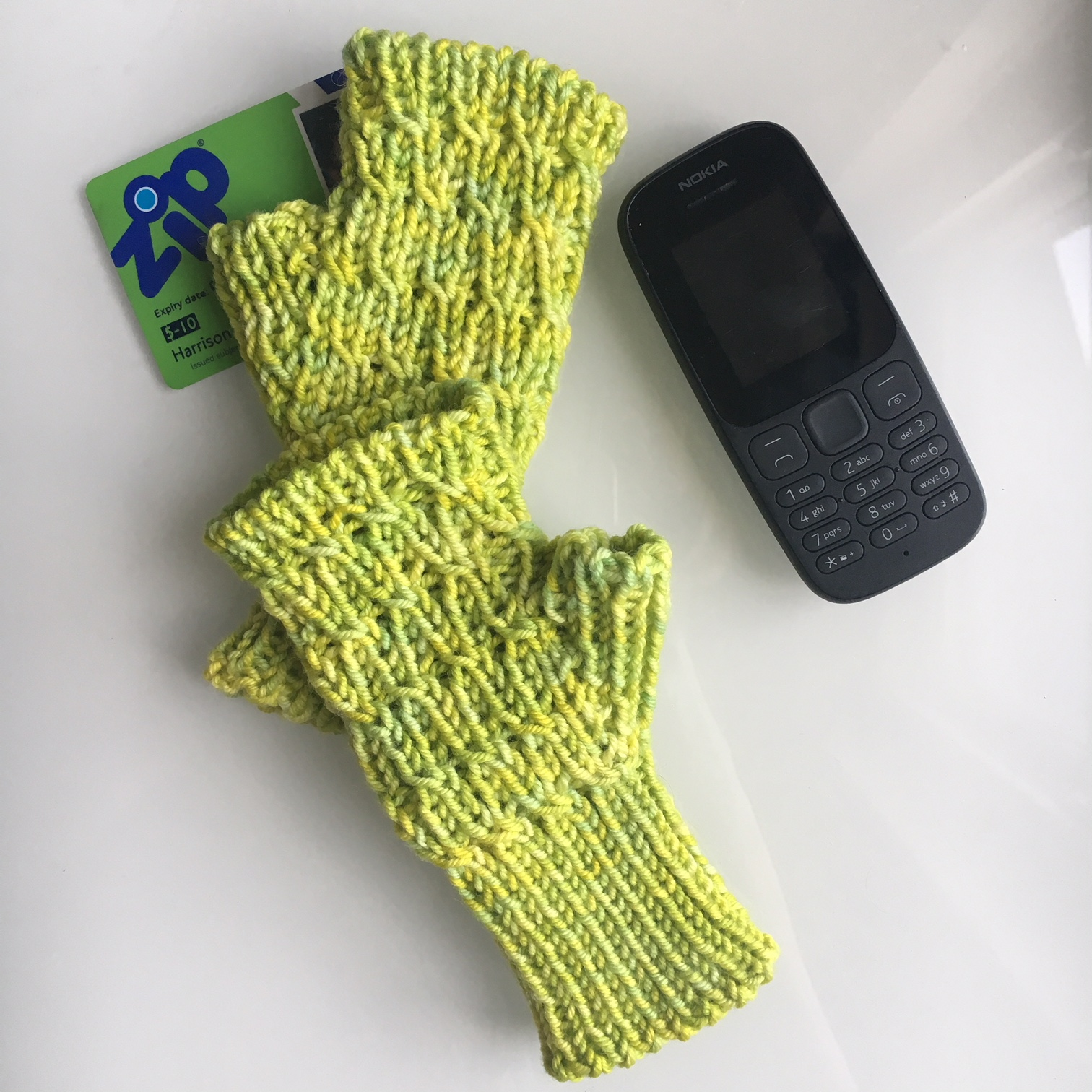 New winter mitts for Mr. H. Just in time for, er, spring?
