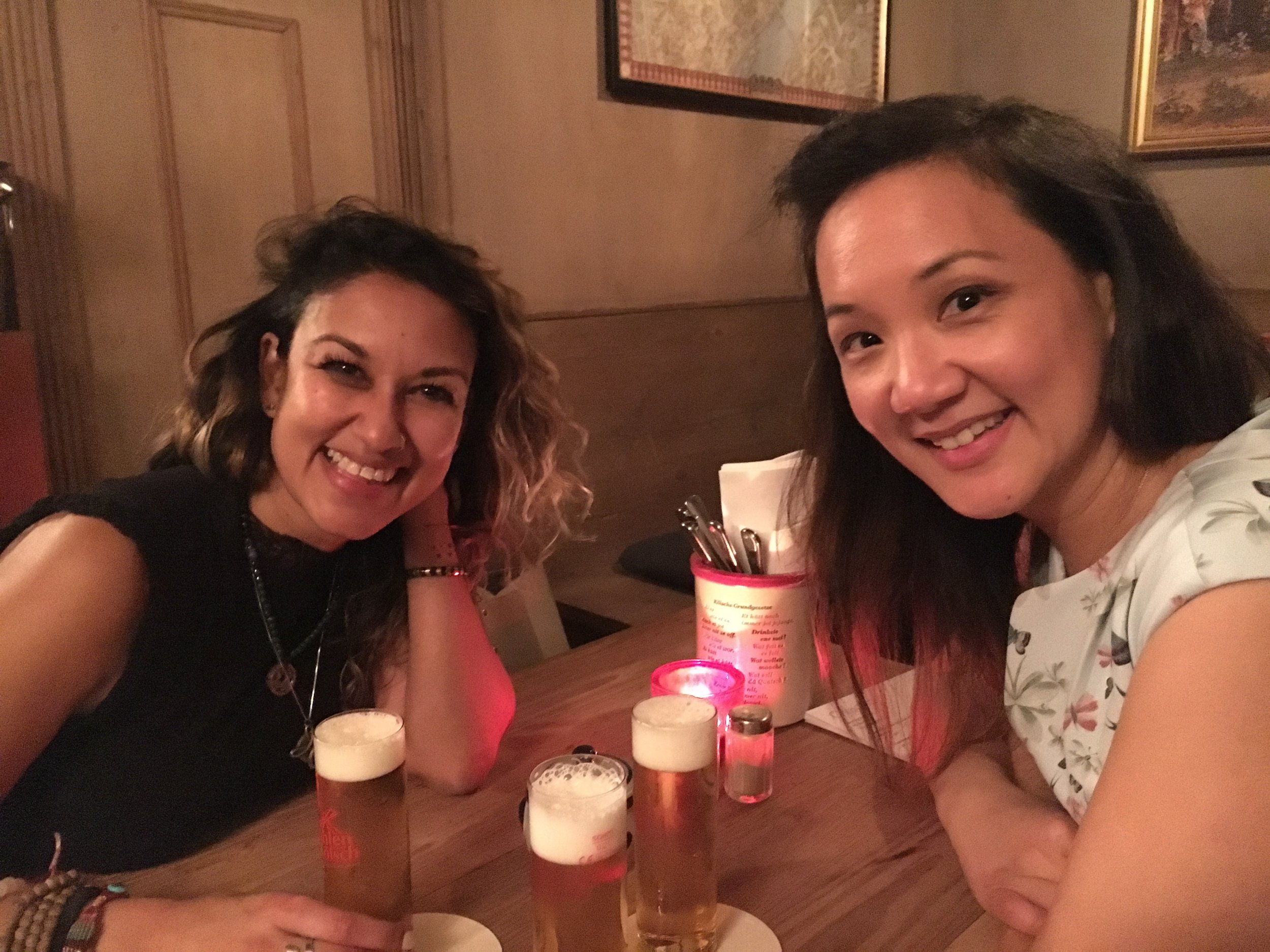 Discovering one of Cologne's best biergardens and having the famous Kolsch with Milli of Tribe Yarns and Felicia from SweetGeorgia while at H+H
