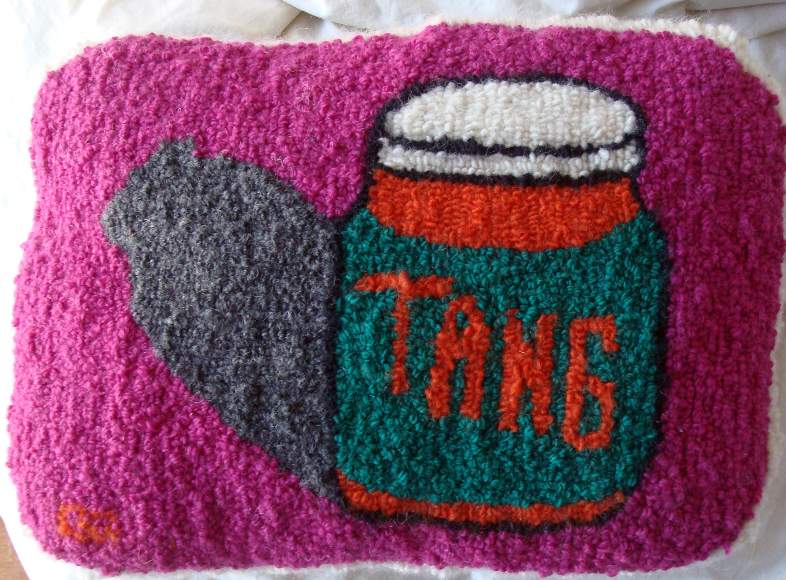 Tang hand-hooked pillow