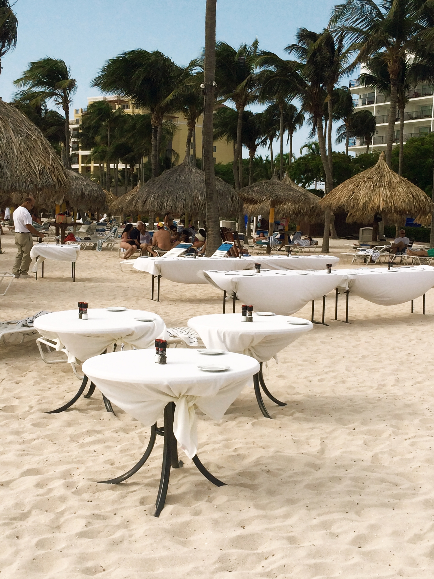 During the evening hours, the Marriotts restruants set up tables along the shore