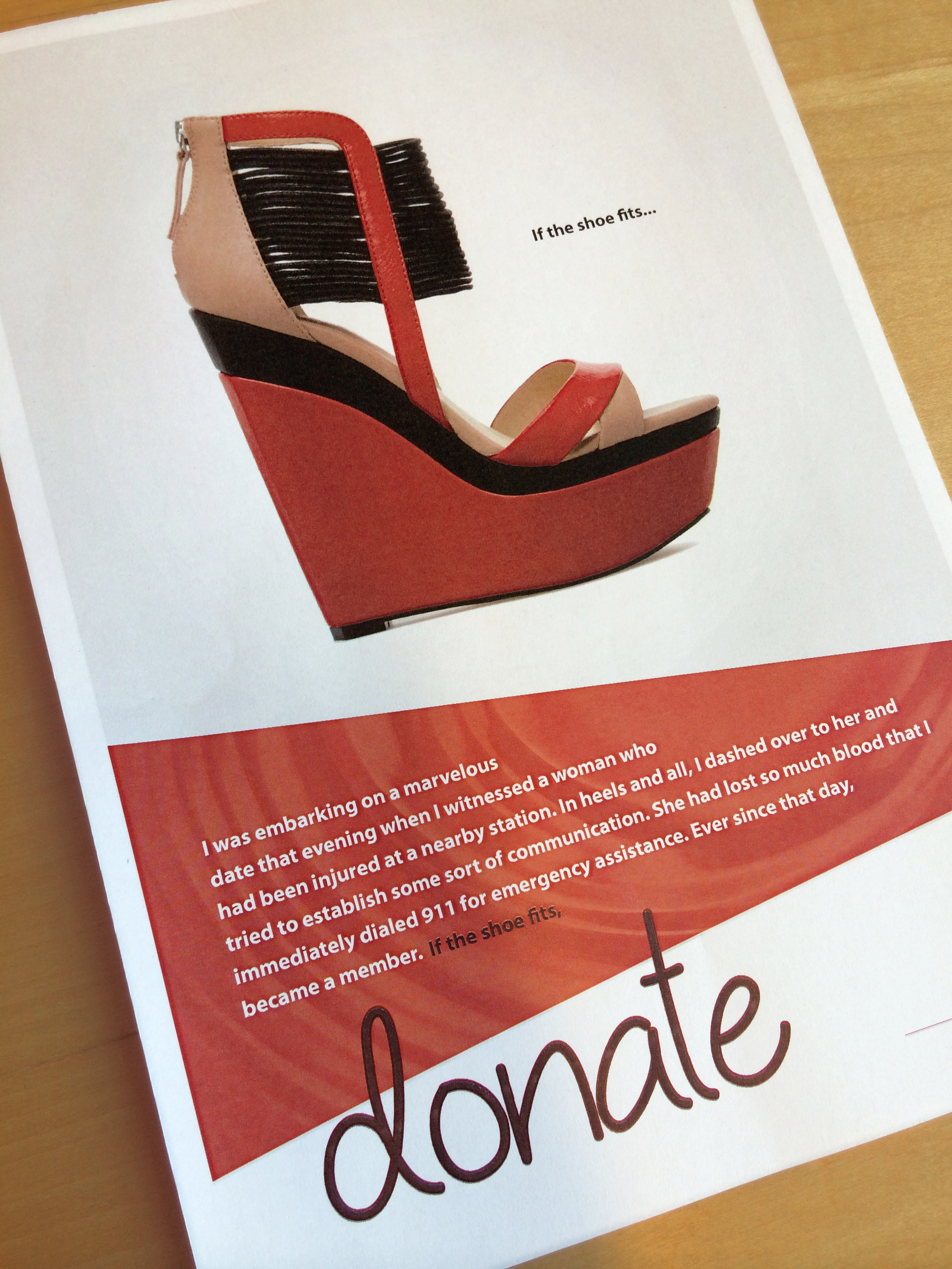 """""""If the Shoe Fits, Donate."""" Campaign Concept for New York Blood Center. 2014"""