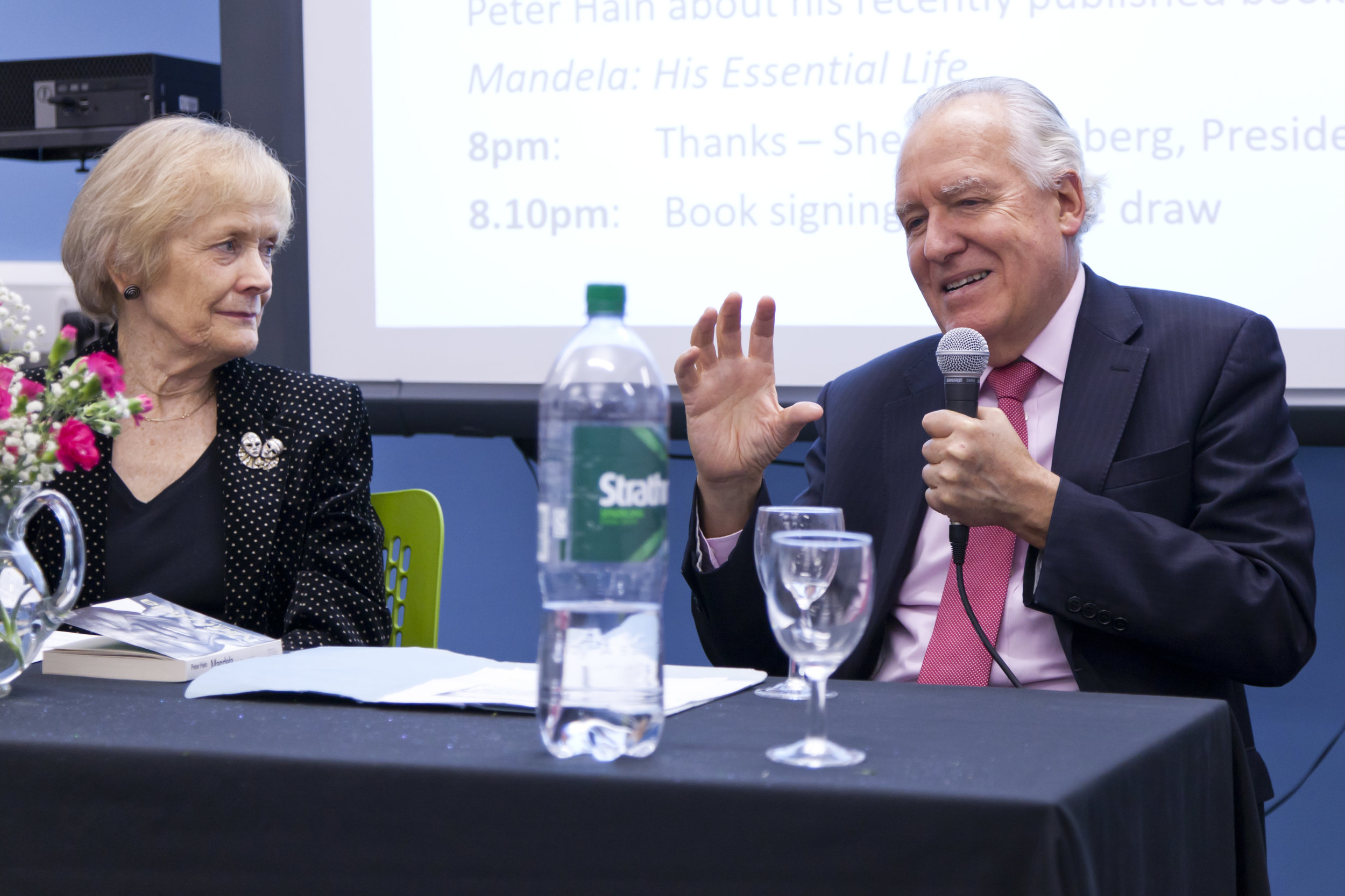 Trust Patron Sue MacGregor CBE interviews Fellow Patron LORD Peter Hain at a fundraising event