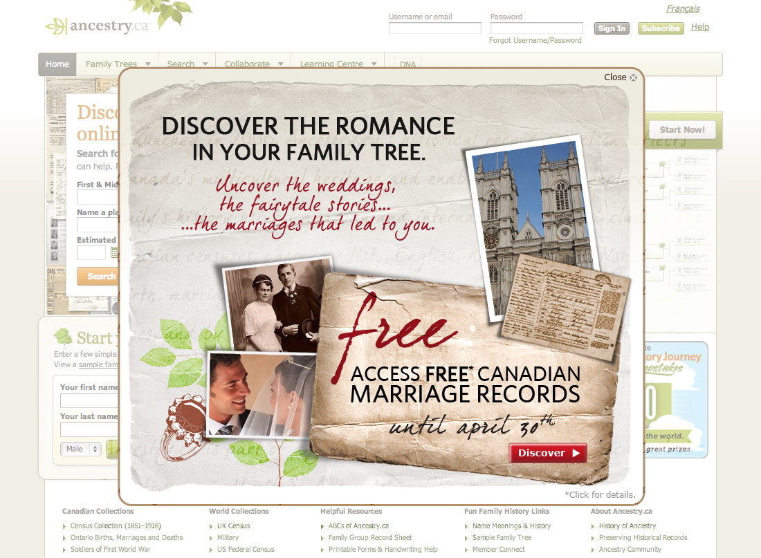 Ancestry.ca Royal Wedding Marriages Homepage Overlay.jpg