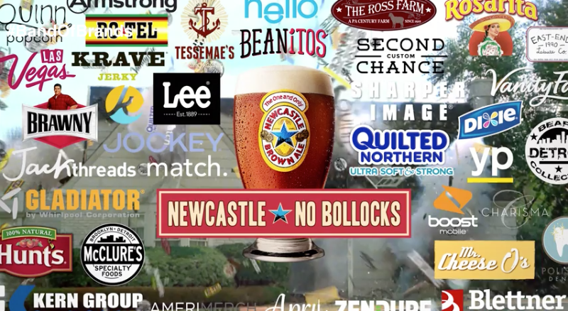 """Newcastle Brown Ale's  """"Band of Brands"""" spot crams 37 brands into the first crowdfunded, regional Super Bowl ad"""