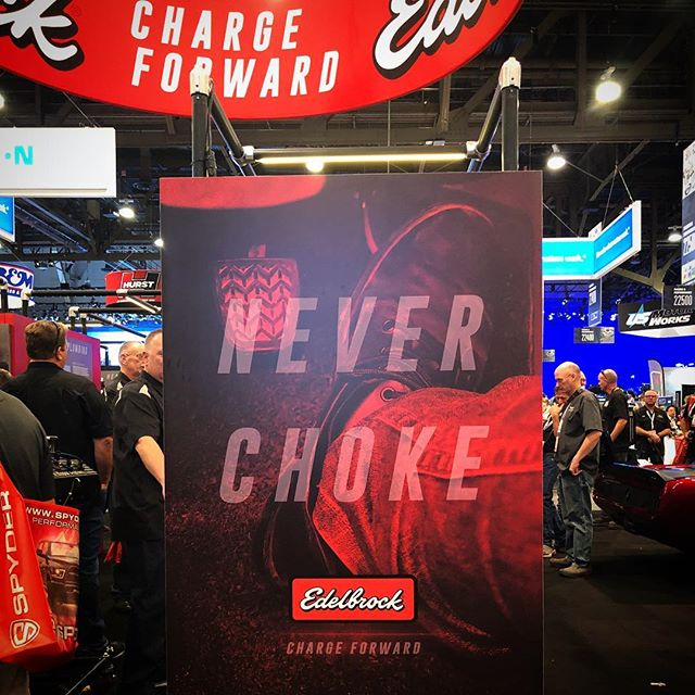 Our new brand platform for Edelbrock looked badass at SEMA #edelbrock #chargeforward #neverchoke #sema2018