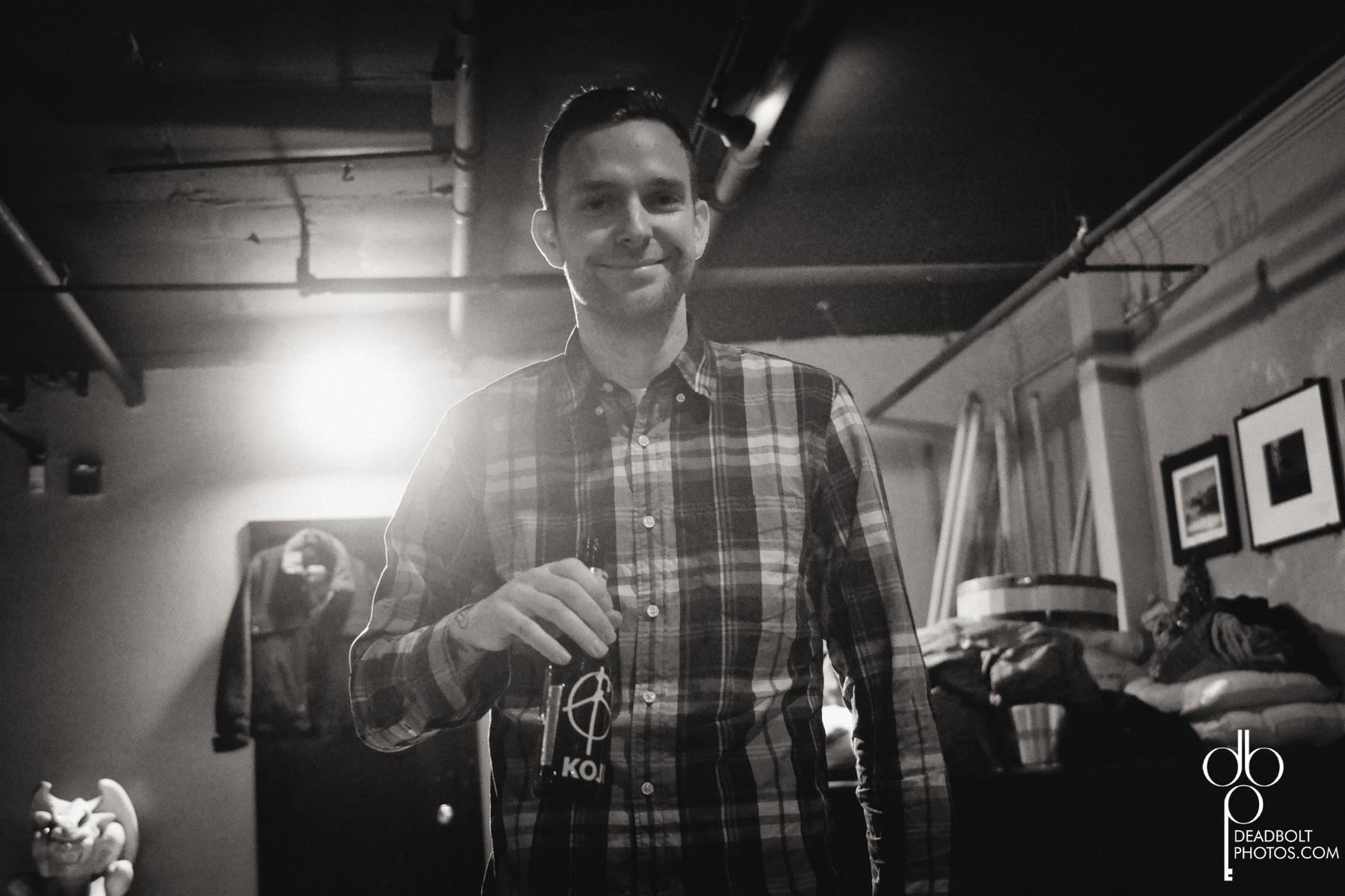 "Vinnie Caruana  with ""Koji"" beer backstage."