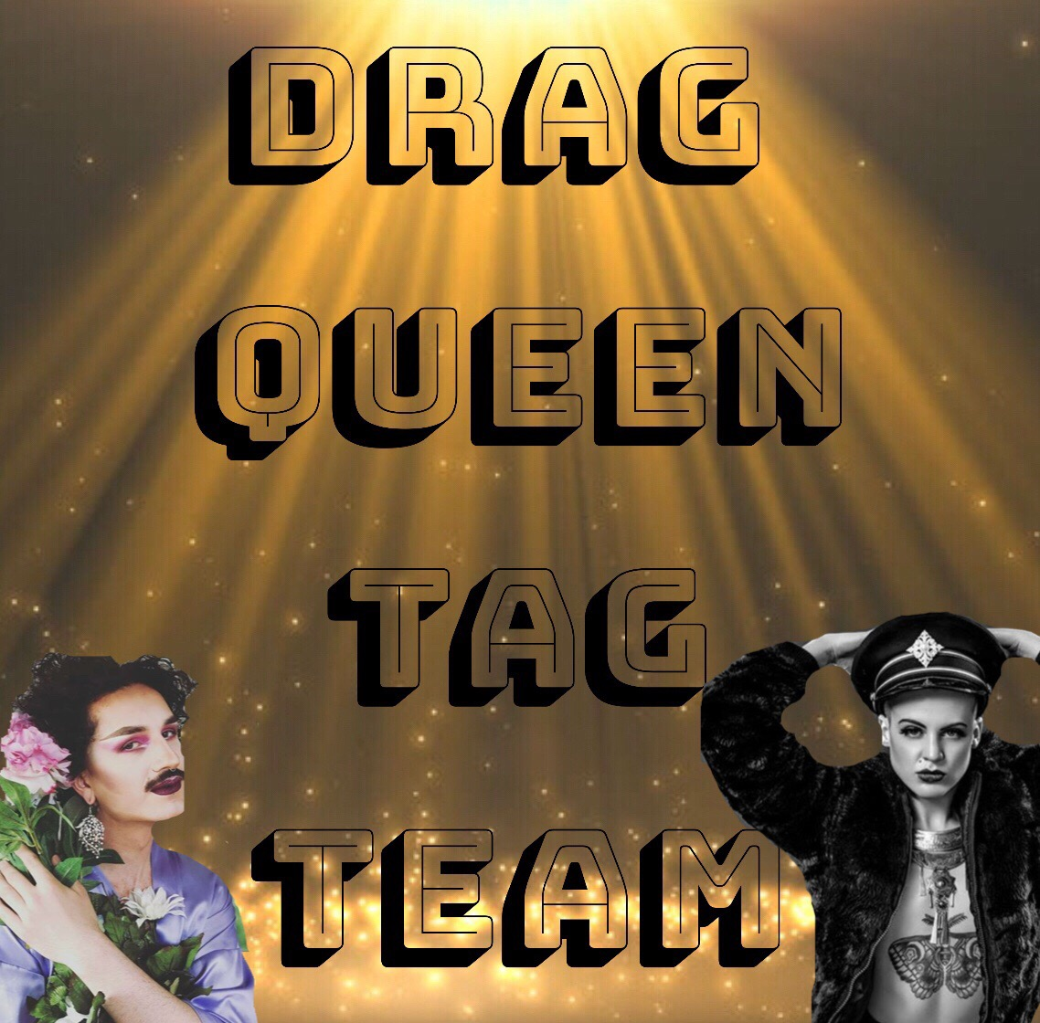 """#DQTT Drag Queen Tag Team is BACK!  Hosted by Pepper Pepper and DJ Cabiria Jones with special guest performers  Kel Dae and  Alice Johnson   August 14th  6pm Doors  7pm Show ALL AGES FREE  Drag Queen Tag Team is a non-stop improvised lip-synch performance where 3 performers go all out. It's a space where the LIVE moment is treasured over the precious moment. It's a space where the audience participates by tagging out the queens to lip-synch for/with them, it's a space where the audience can """"complicate"""" the performance with special requests and $ donations. It's a queer de-structuring of a lip-synch with joy, rigor and fun."""