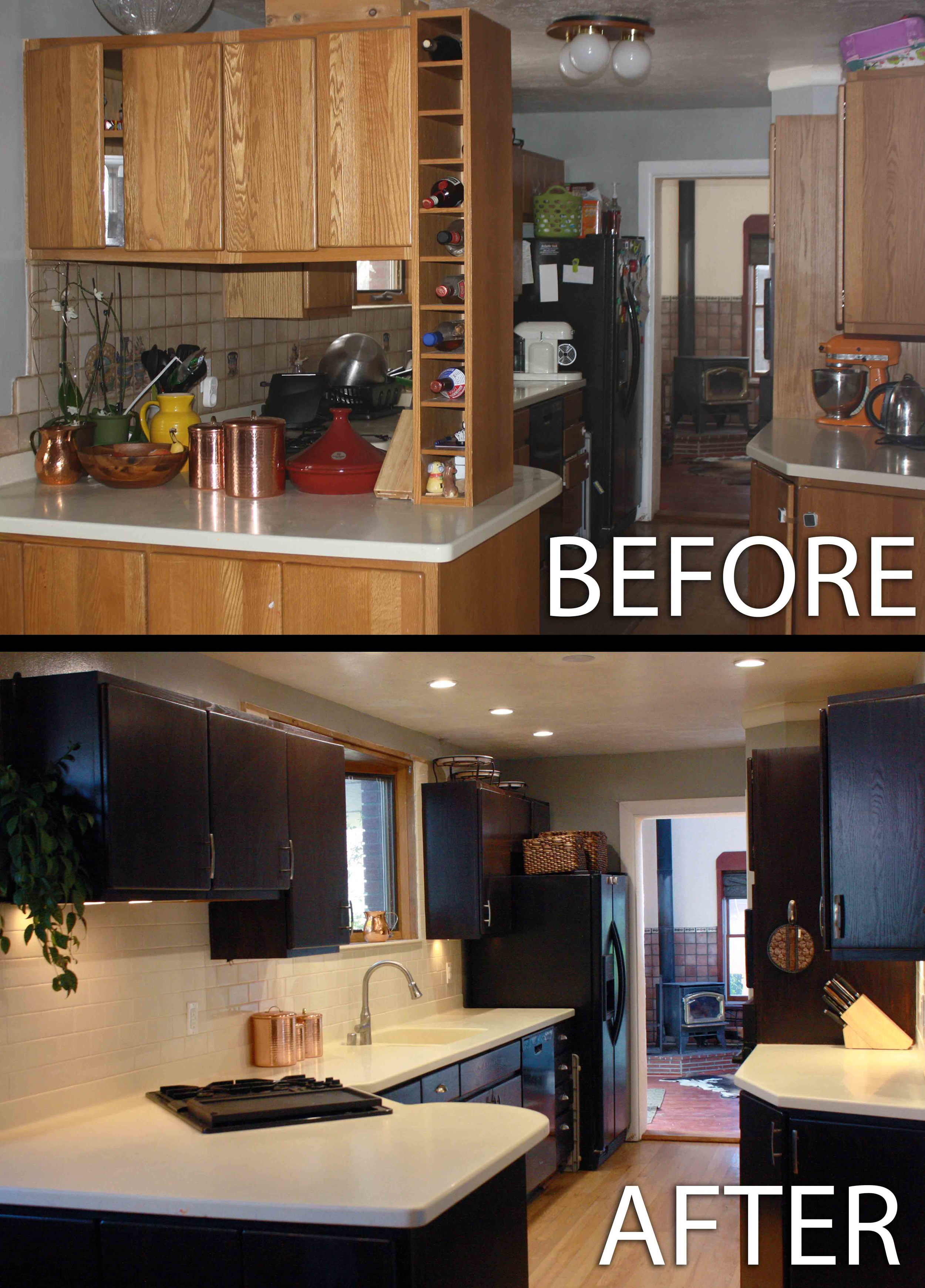 "Yes, that upper pic was the ""clean version"" of my kitchen. I don't miss those cabinets at all."