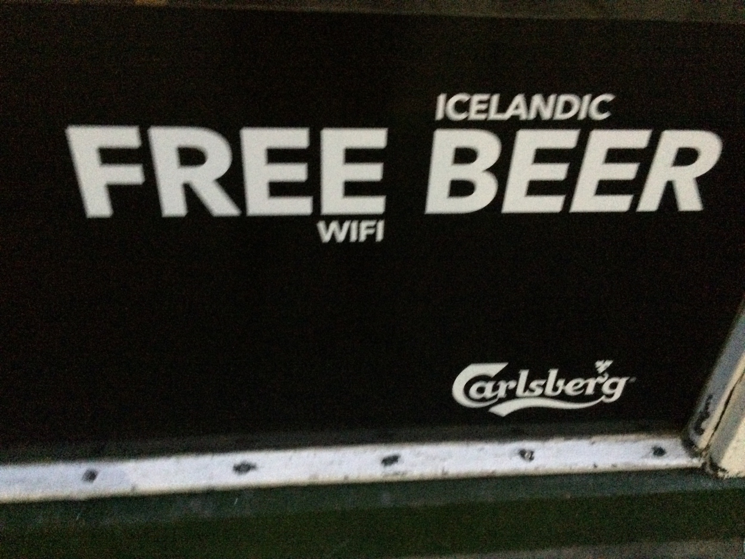 The words FREE BEER gets anyone to stop - but only to find out there is. no. free. beer... tear! Clever, but we walked passed this bar and moved on to the next because the sign pissed us off. The audience (us beer drinkers) deemed it a fail. It seemed super harsh considering how expensive beer is in Iceland!