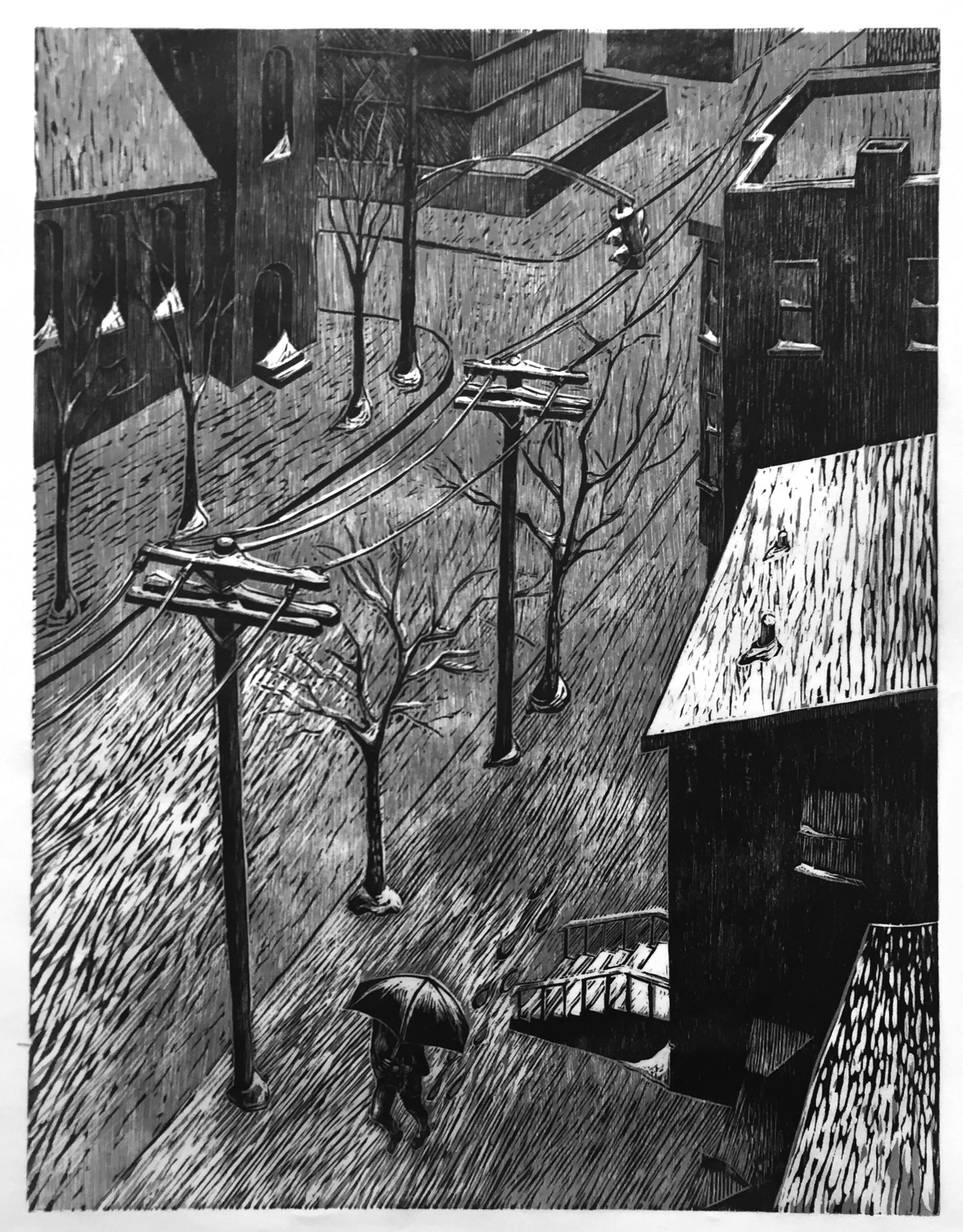 """""""March Storm"""", 2-color woodcut on Japanese paper, 25"""" x 19"""""""