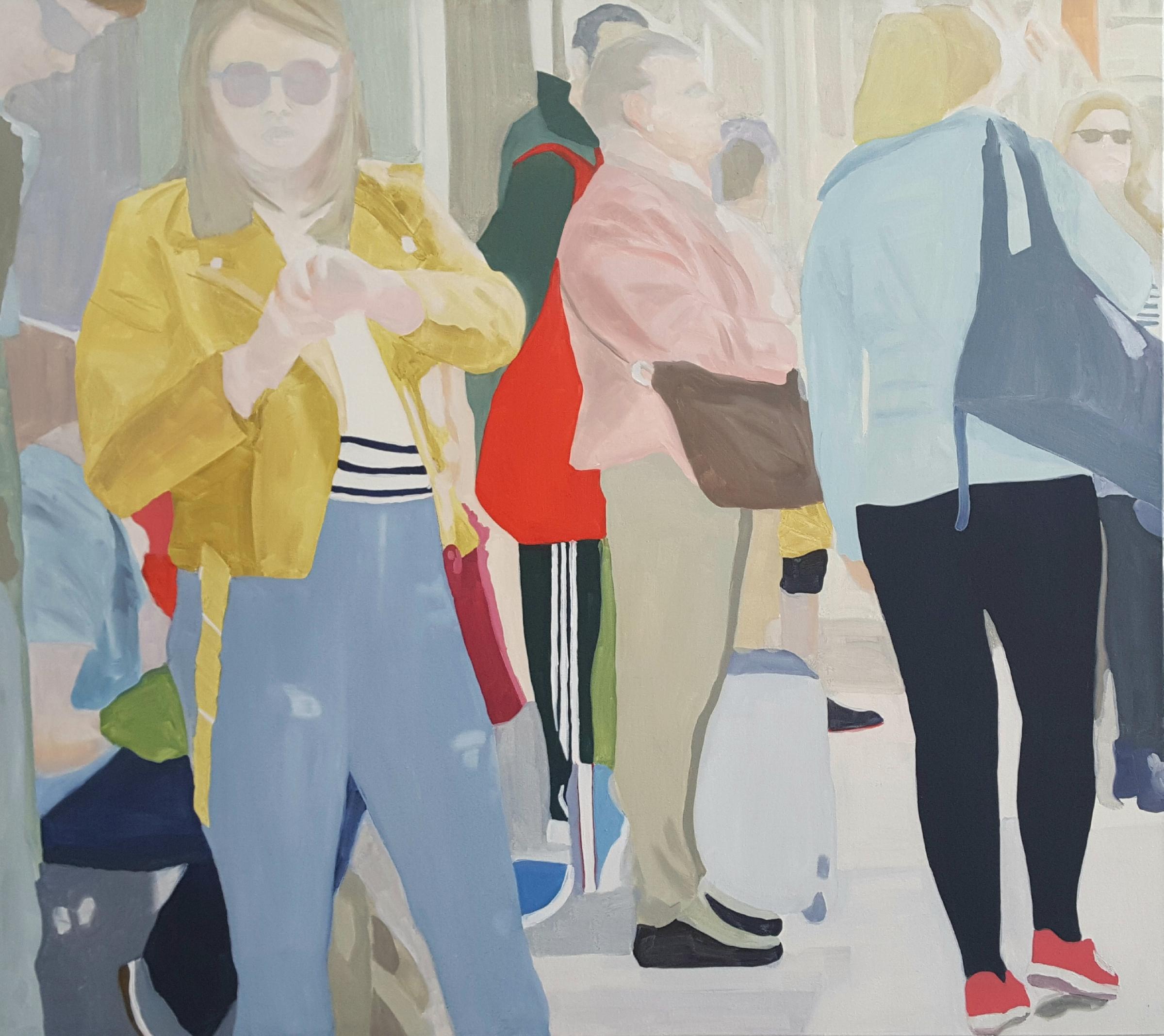 "Passengers, 2018, 45x40"" oil on canvas"