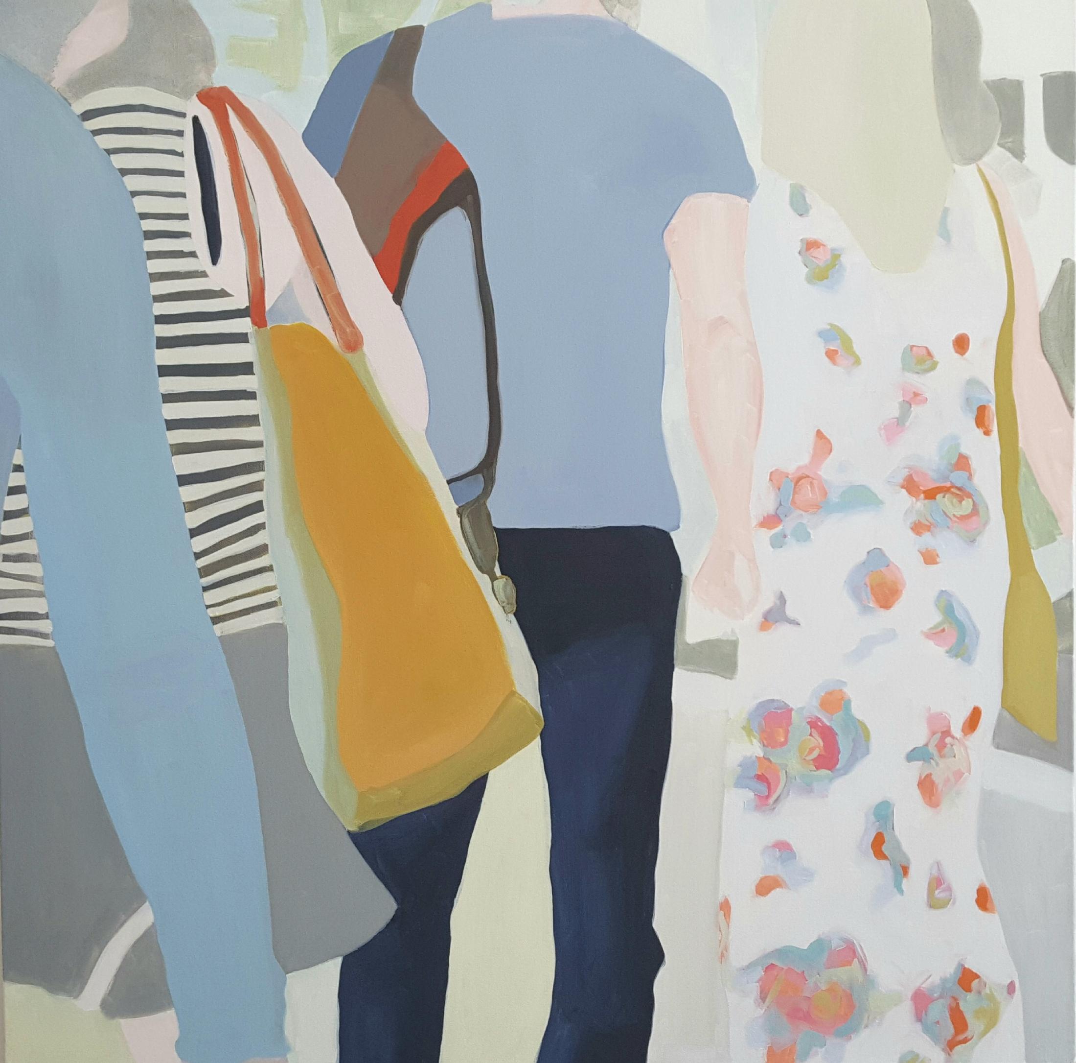 "Bystanders III, 2018, 40x40"" oil on canvas"