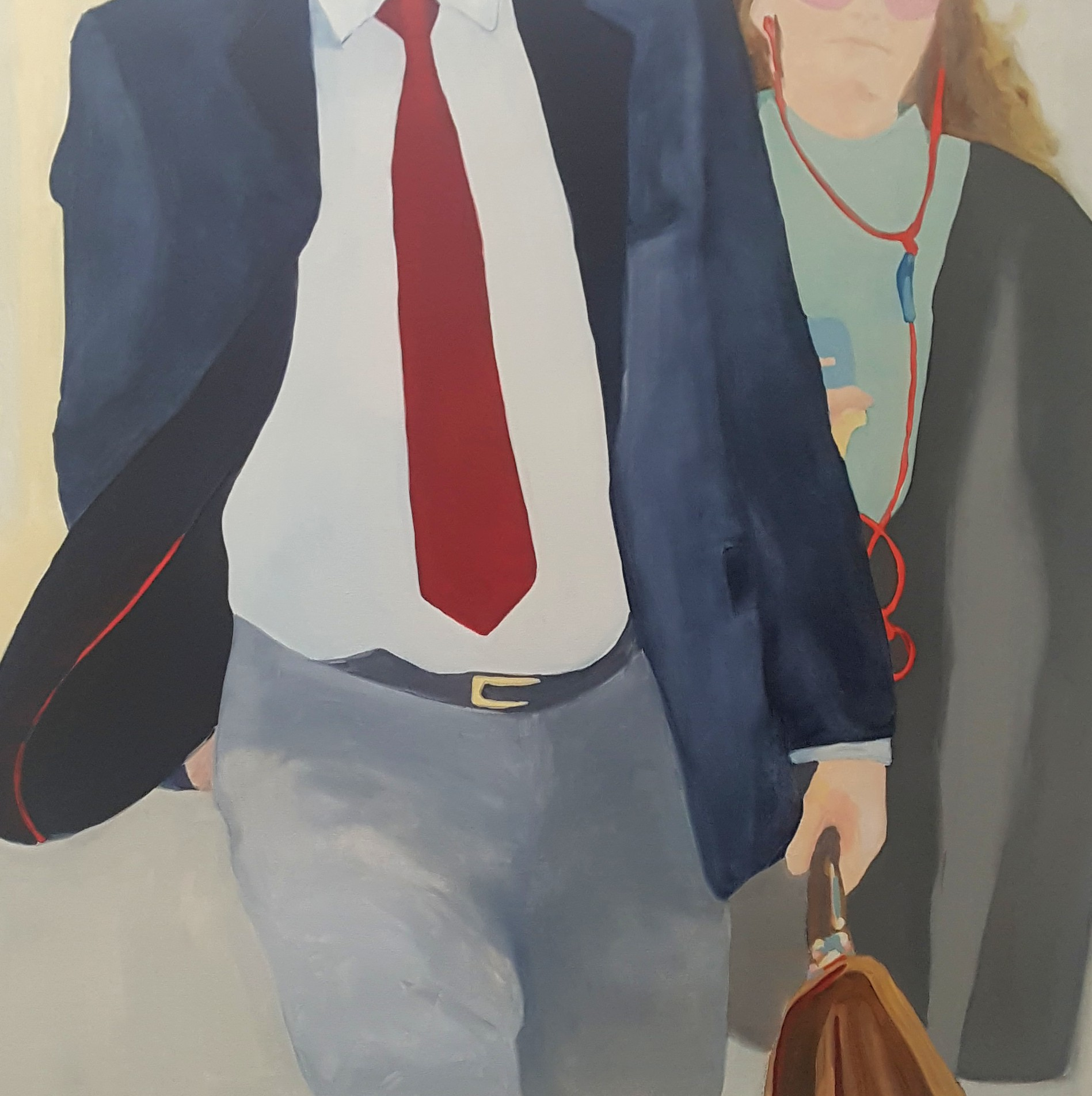 """An Occasion for a Red Silk Tie, 2019, oil on canvas, 36x36"""""""