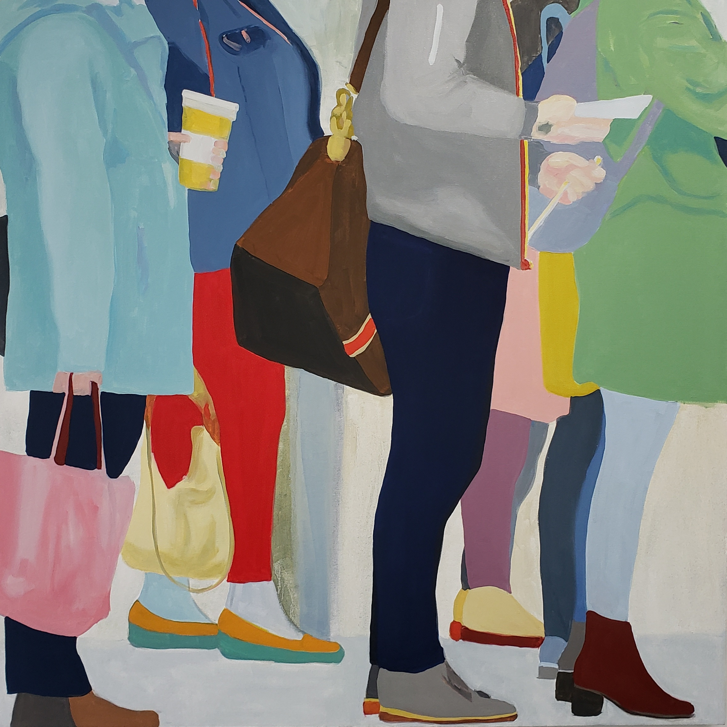 """Queuing to Wait, 2019, oil on canvas, 48x48"""""""