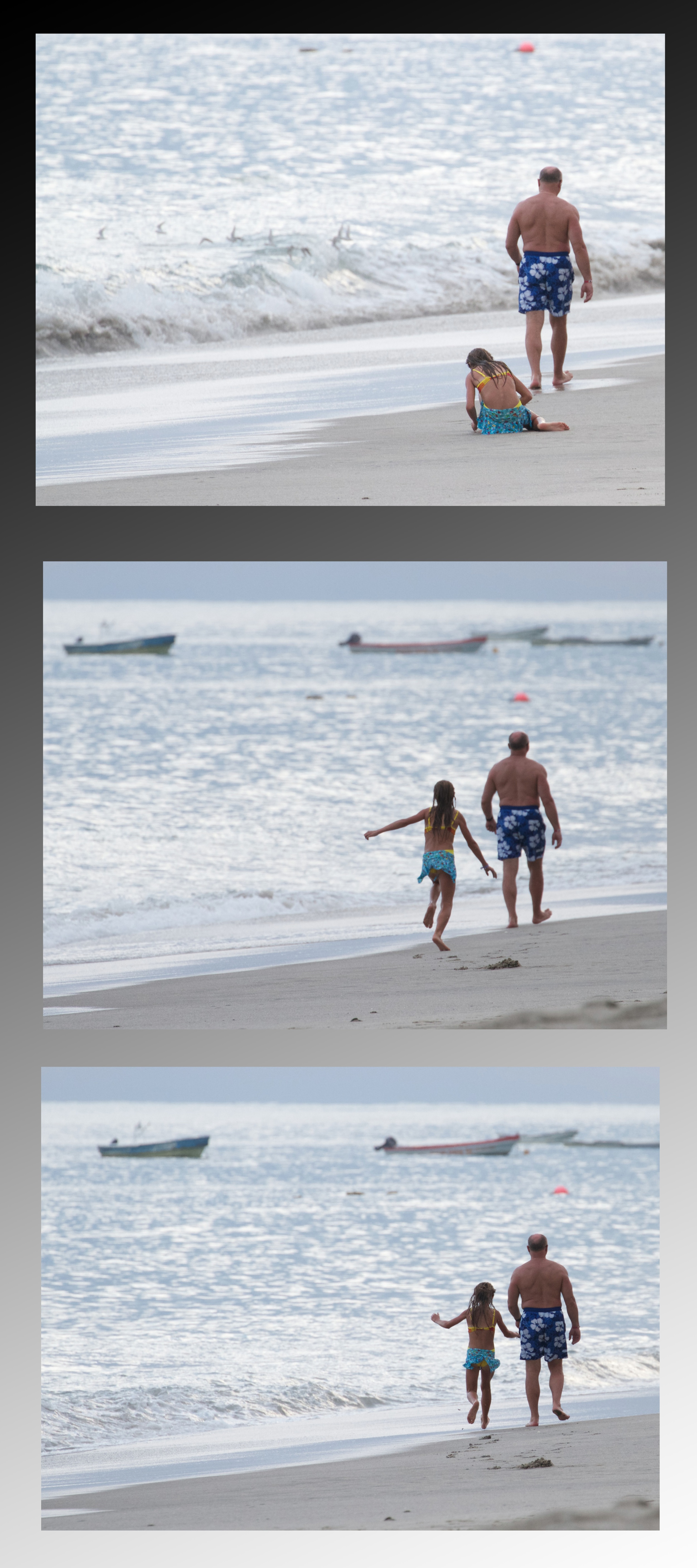 A little girl playing in the sand runs to catch up to her grandfather. Canon EOS 7D EF 100-300mm at 300mm f/5.6 1/400 ISO 640 +2ev