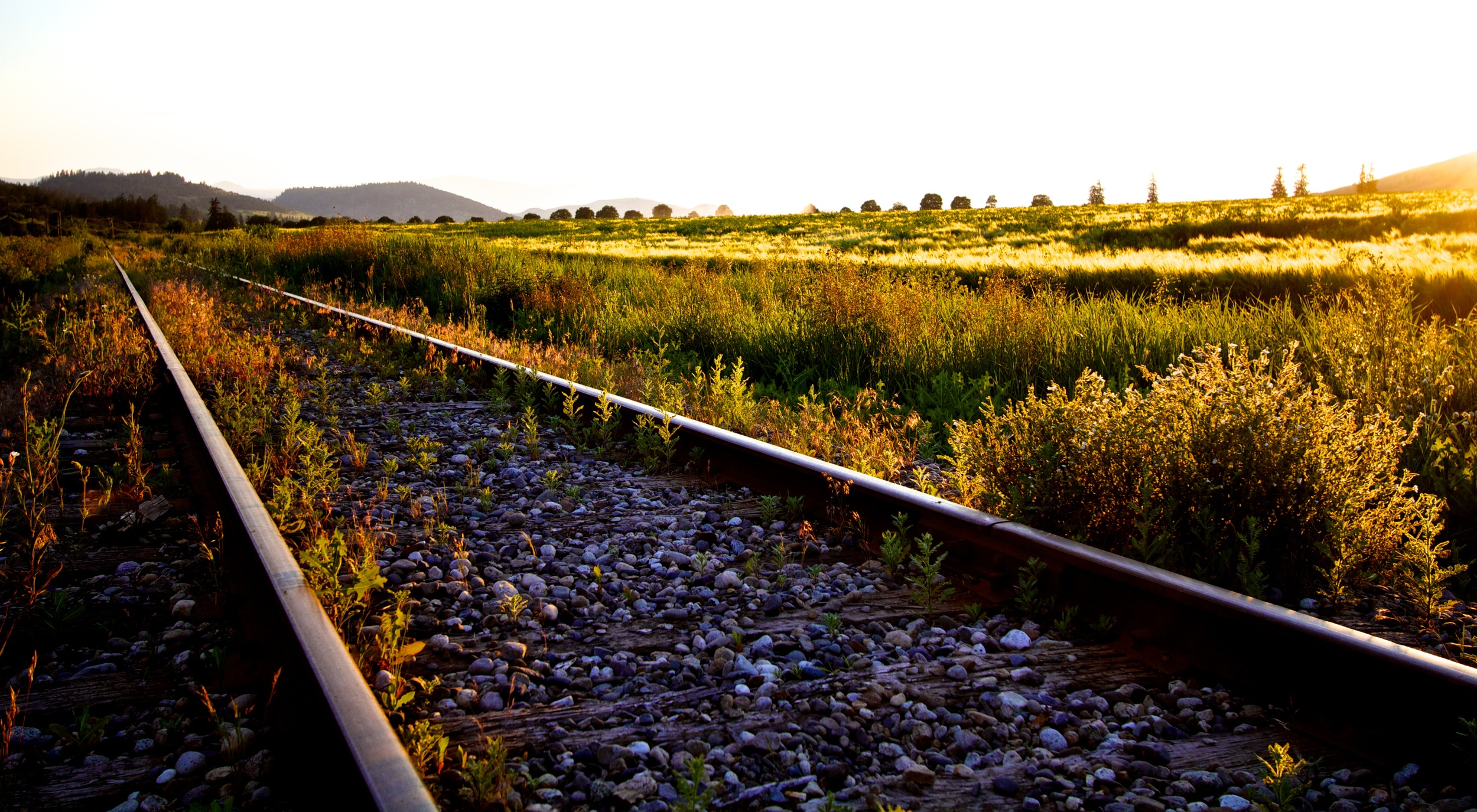 Train tracks over a purple bed of rocks push off into a yellow green sunset. Canon EOS 7D EF-S 10-22mm at 22mm f/5 1/200 ISO 200