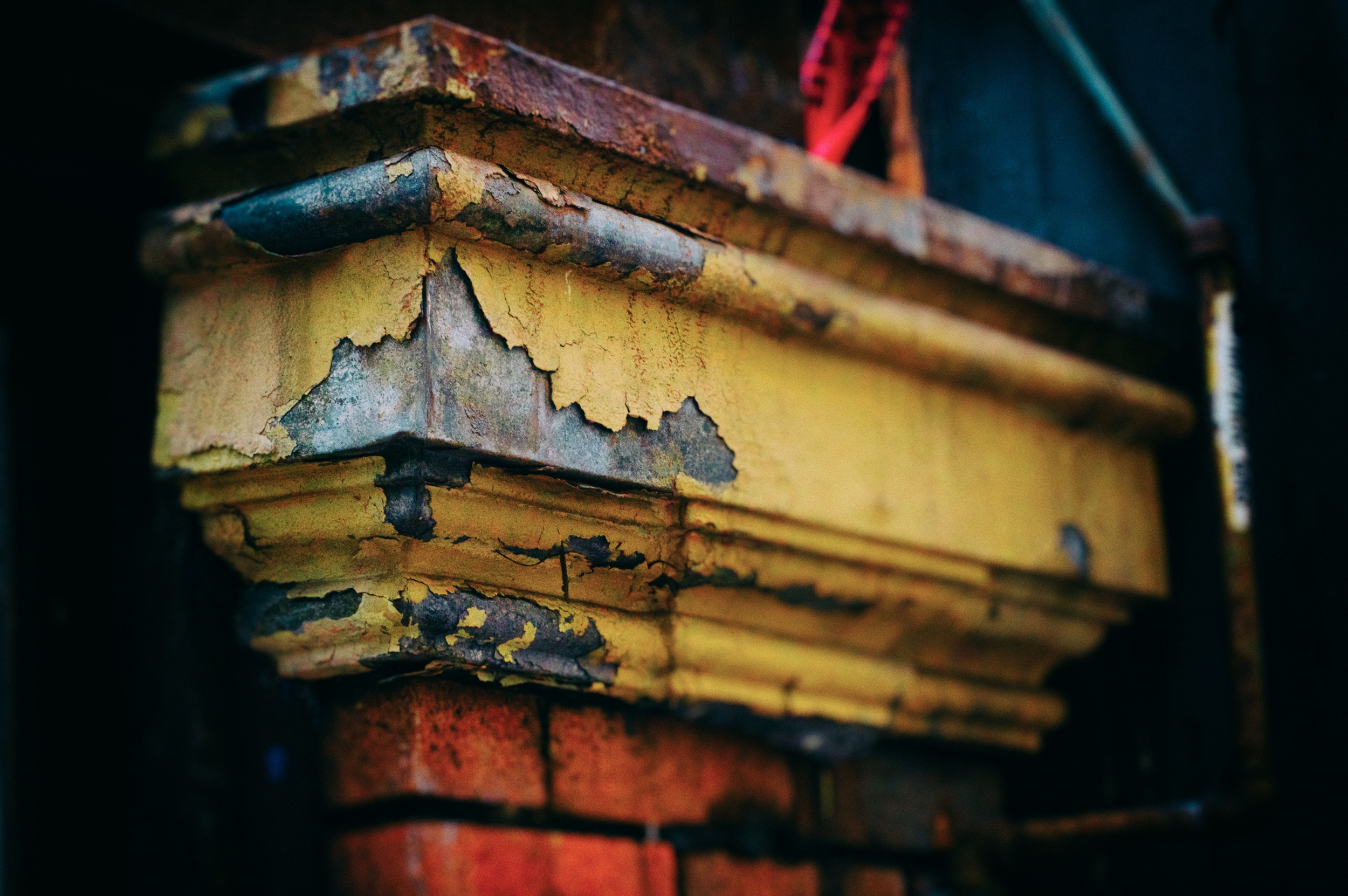 An old gutter becomes a wonderful combination of texture and colour. Canon EOS 7D EF 50mm f/1.4 at f/18 1/50 ISO 320