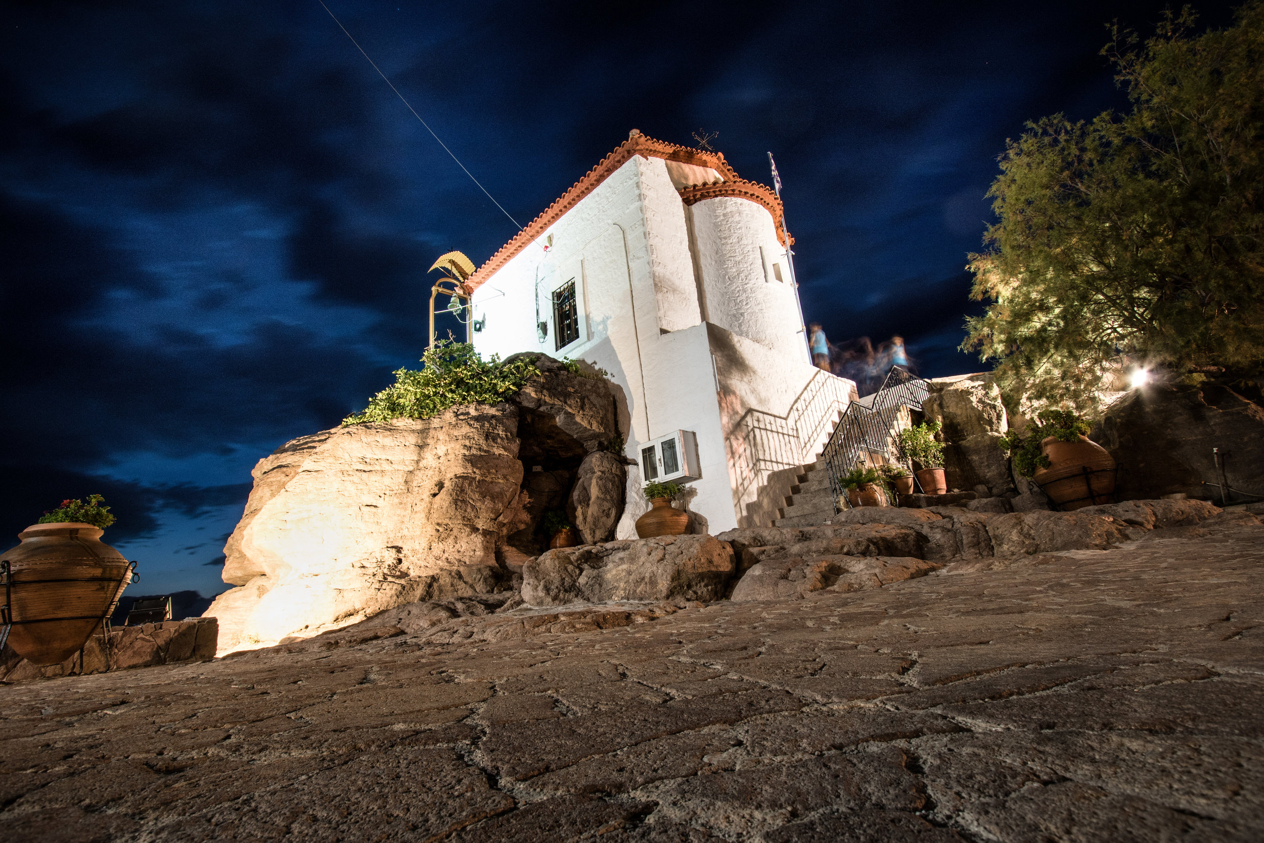 The church that forms the iconic centre of the Skala harbour. Canon 7D Mk ii 10-22mm at f/8 22sec ISO 200