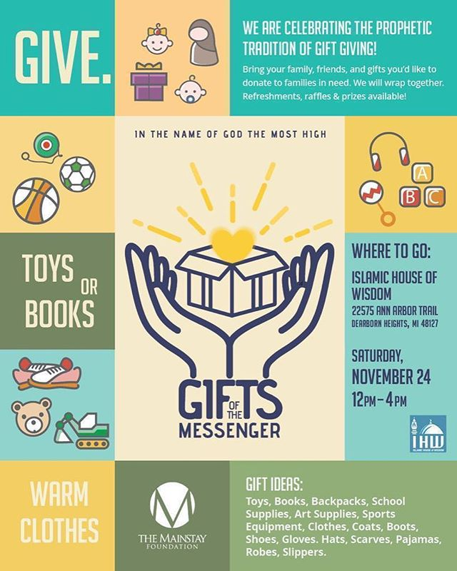 Islamic House of Wisdom is collaborating with The Mainstay Foundation to pass down the prophetic tradition of giving! Come with your entire family with newly purchased gifts to wrap. Join us tomorrow anytime between 12:00PM-4:00PM! @ihwconnect @mainstayfoundation