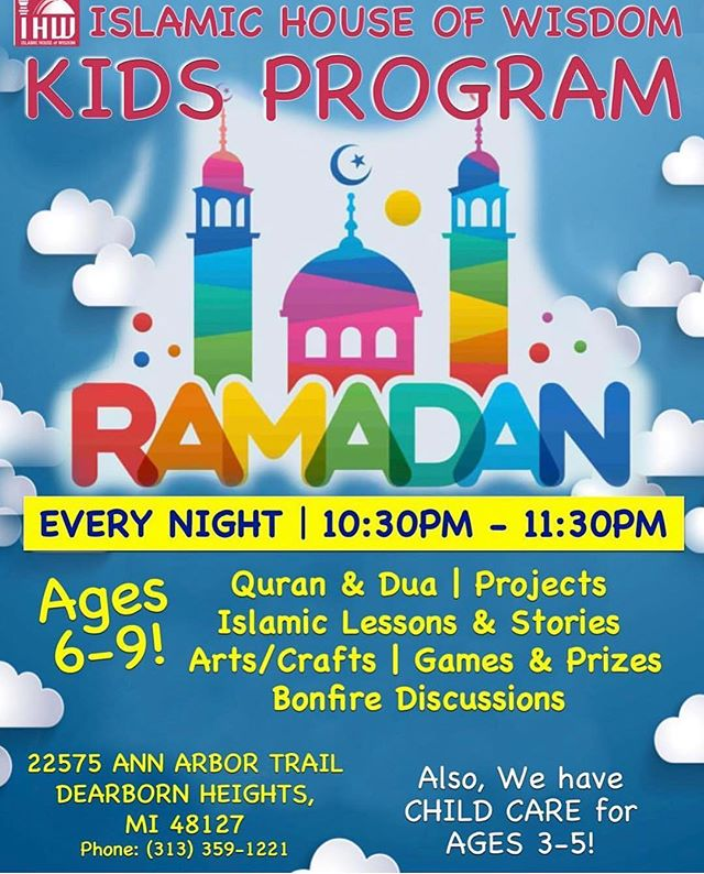 Join us tonight and every other night of ramadhan for youth programs. Arts and Craft, Quran, Islamic lessons, and more