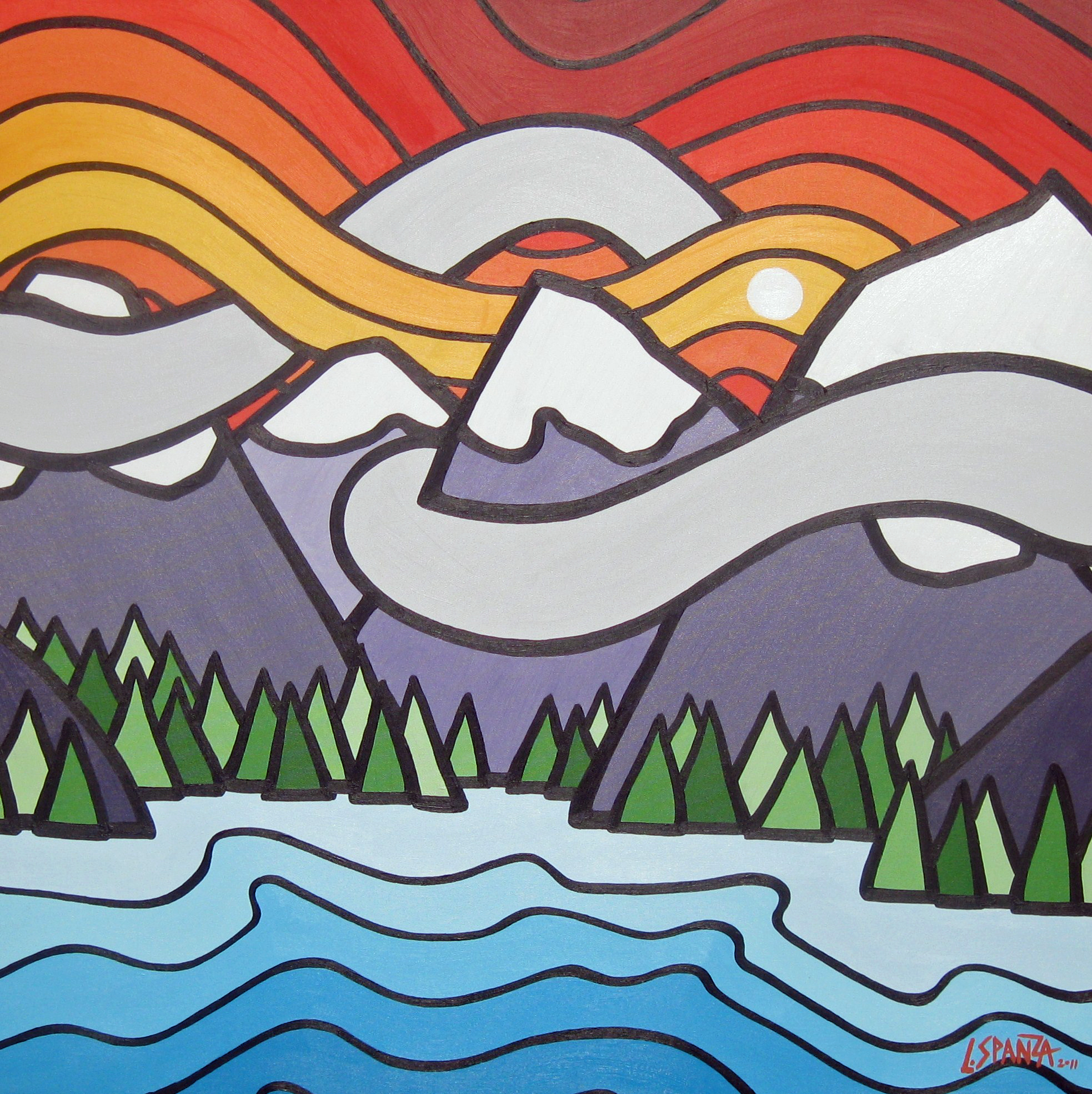 """Title: Mt Fidelity, 2011  Size: 36"""" x 36"""" Acrylic on Canvas  SOLD"""