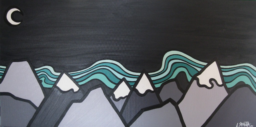 """Title: Northern Lights, 2011  Size: 18"""" x 36"""" Acrylic on Canvas  SOLD"""