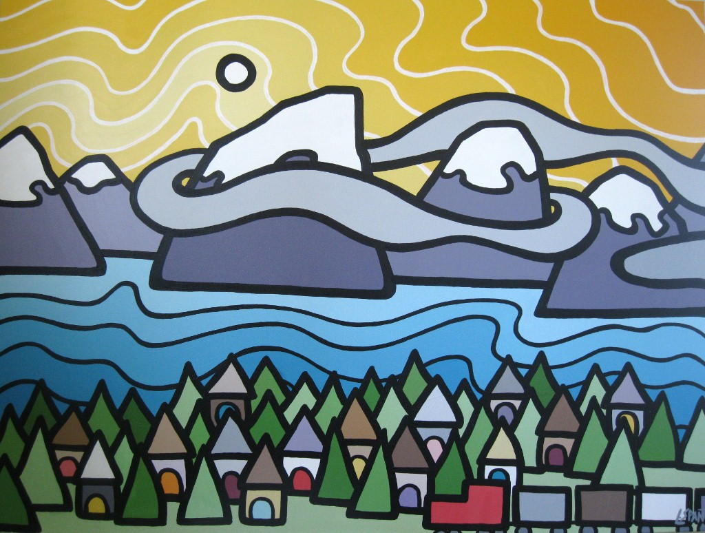 """Title: Revelstoke, 2011  Size: 30"""" x 40"""" Acrylic on Canvas  SOLD"""