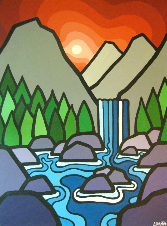 """Title: The Falls II, 2011  Size: 40"""" x 30"""" Acrylic on Canvas  SOLD"""