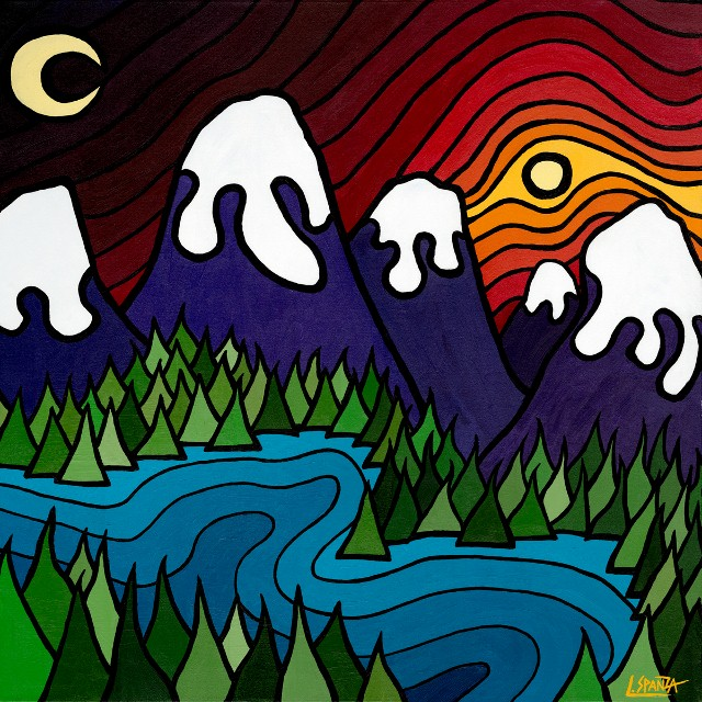"""Title: The Kootenays, 2010  Size: 36"""" x 36"""" Acrylic on Canvas  SOLD"""