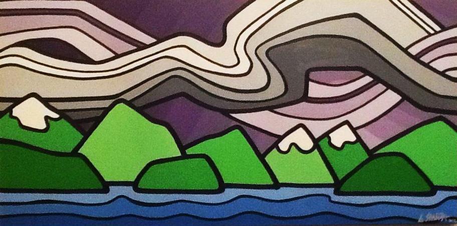 "Title: Kootenay Lake, 2012  SIze: 24"" x 48"" Acrylic on Canvas  SOLD"