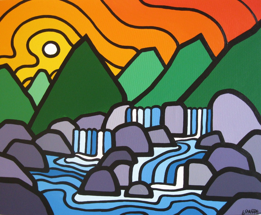 """Title: Four Falls, 2010  Size: 24"""" x 30"""" Acrylic on Canvas  SOLD"""