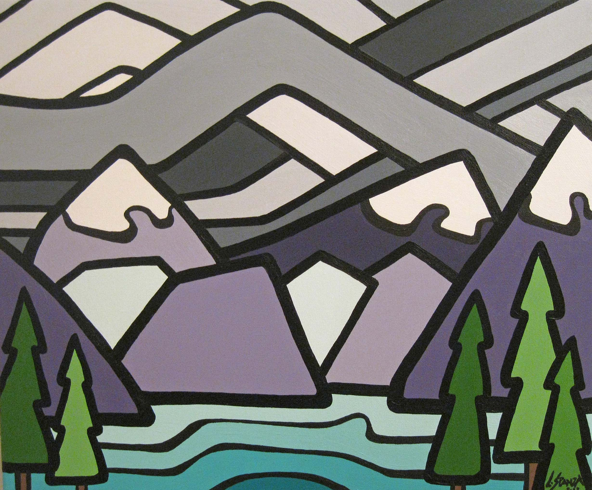 """Title: The Rockies, 2012  Size: 16"""" x 20"""" Acrylic on Canvas  SOLD"""
