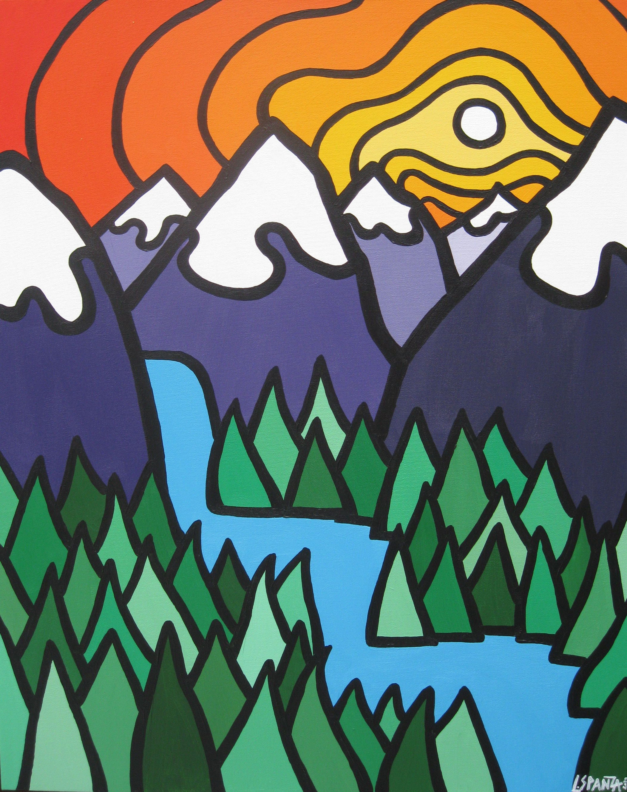 """Title: Mountain Falls, 2010  Size: 30"""" x 24"""" Acrylic on Canvas  SOLD"""