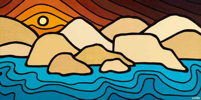 "Title: Okanagan Hills, 2010 - featured on Therapy Vineyards 2011 Artist Series Wine label.  Size: 24"" x 48"" Acrylic on Canvas  SOLD"