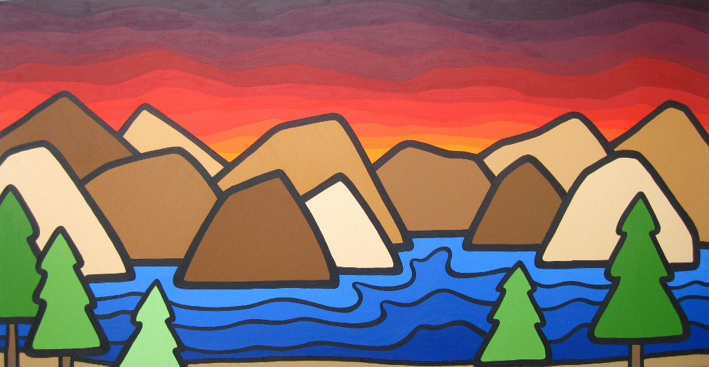 "Title: A View Up Top, 2012  Size: 24"" x 48"" Acrylic on Canvas  SOLD"