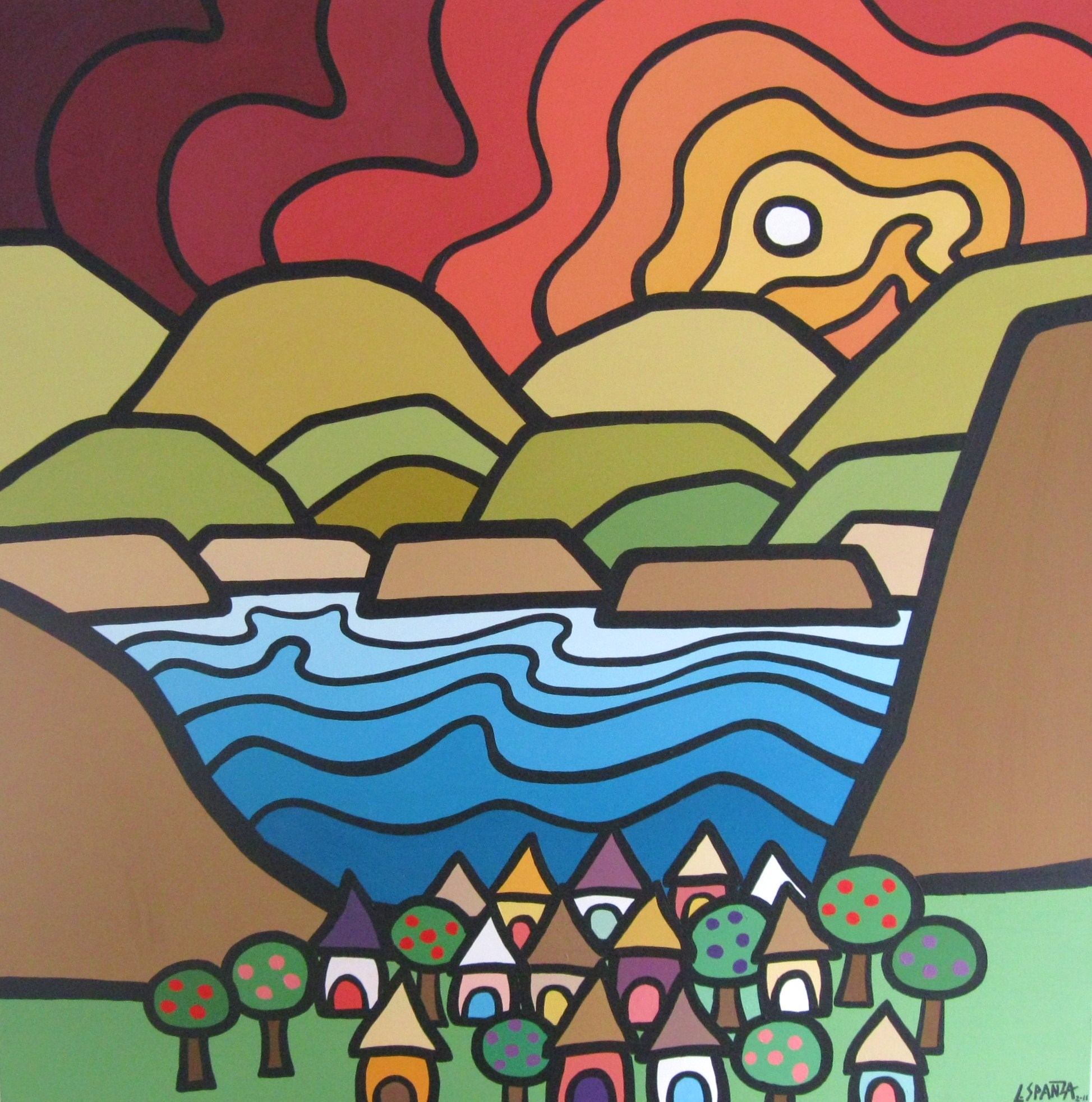 "Title: Summerland, 2010  Size: 36"" x 36"" Acrylic on Canvas  SOLD"