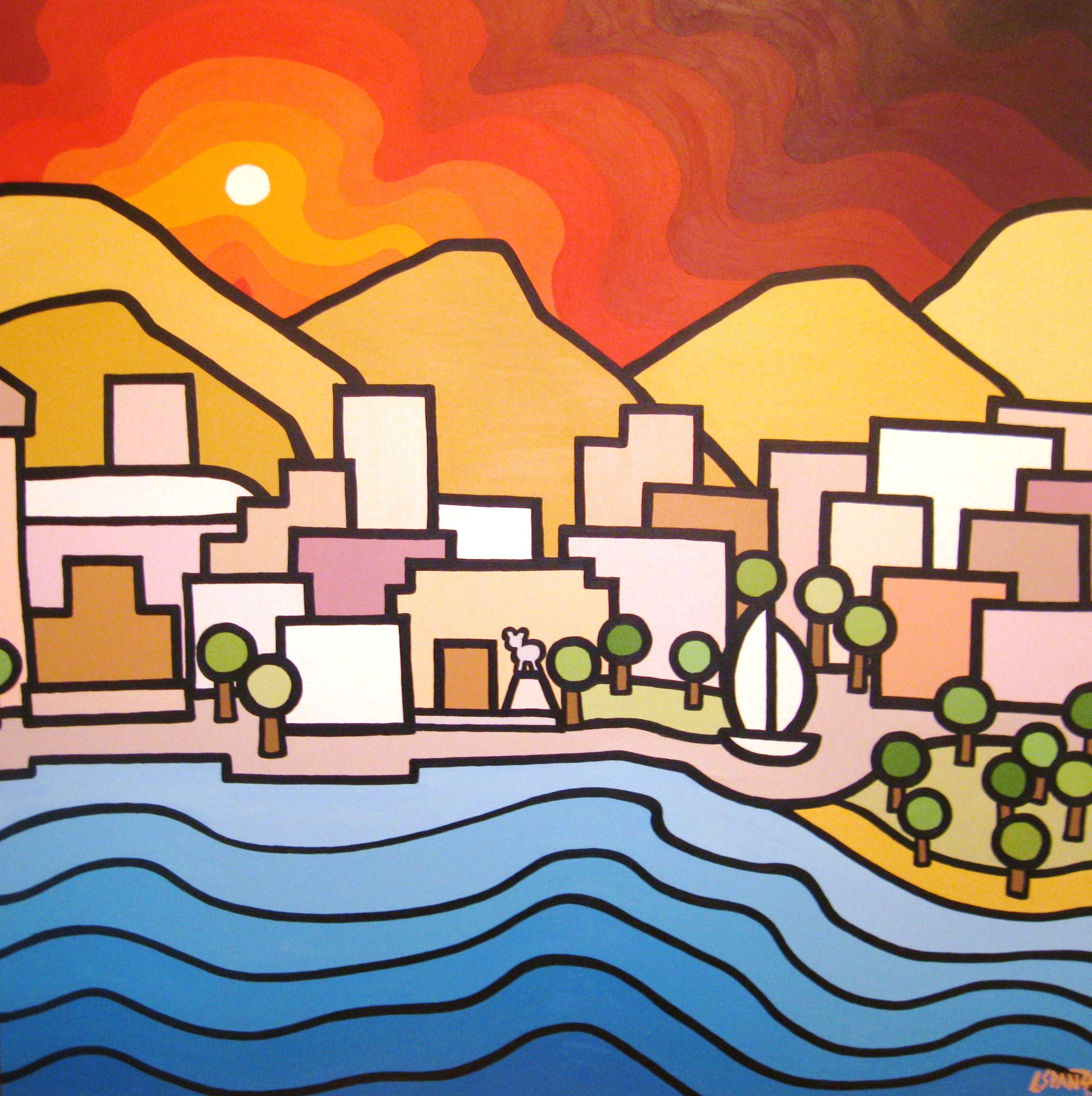 "Title: Downtown Kelowna, 2011  Size: 48"" x 48"" Acrylic on Canvas  SOLD"