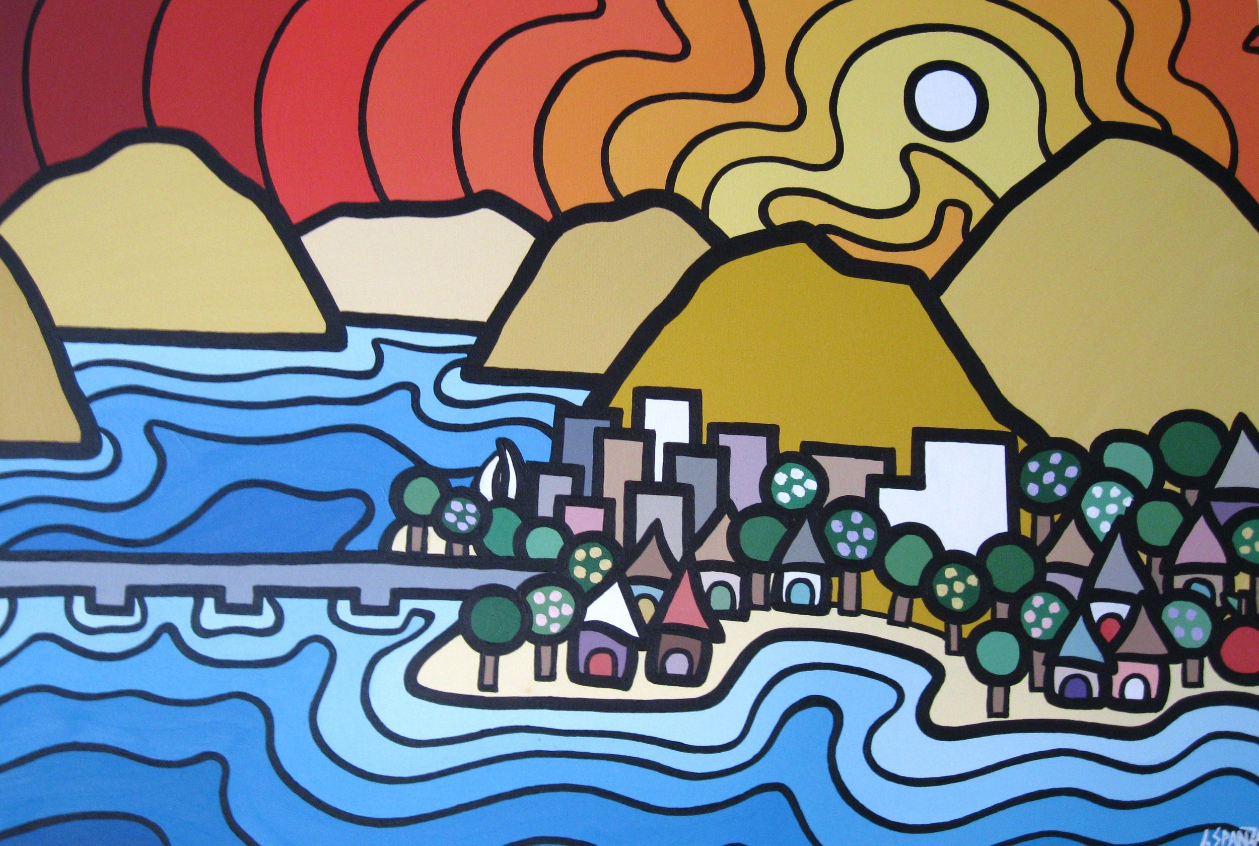 "TItle: Kelowna North, 2011 selected by the Kelowna Hospital Foundation to hang in the new Pediatric Wing  Size: 24"" x 36"" Acrylic on Canvas  SOLD"