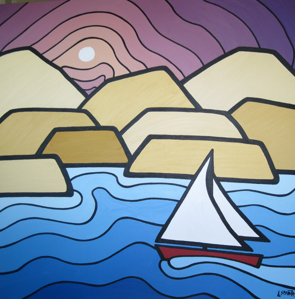 "Title: Okanagan Sailing  Size: 36"" x 36"" Acrylic on Canvas  SOLD"
